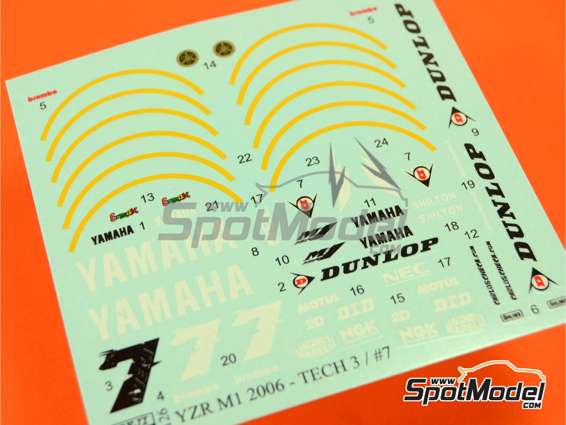 Image 1: Yamaha YZR-M1 Tech3 Dunlop - Motorcycle World Championship 2006   Marking / livery in 1/12 scale manufactured by Reji Model (ref.REJI-126)
