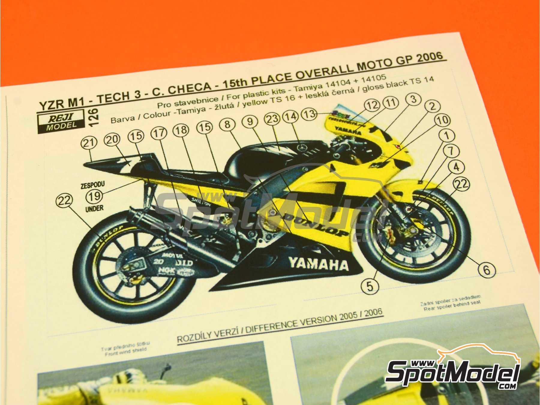 Image 2: Yamaha YZR-M1 Tech3 Dunlop - Motorcycle World Championship 2006   Marking / livery in 1/12 scale manufactured by Reji Model (ref.REJI-126)
