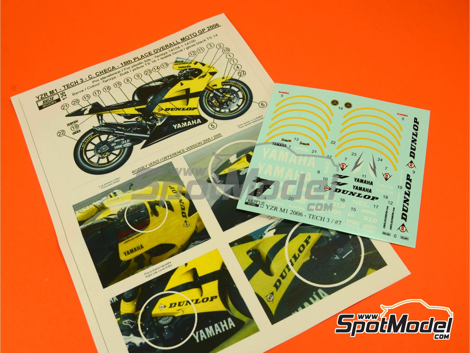 Image 3: Yamaha YZR-M1 Tech3 Dunlop - Motorcycle World Championship 2006   Marking / livery in 1/12 scale manufactured by Reji Model (ref.REJI-126)