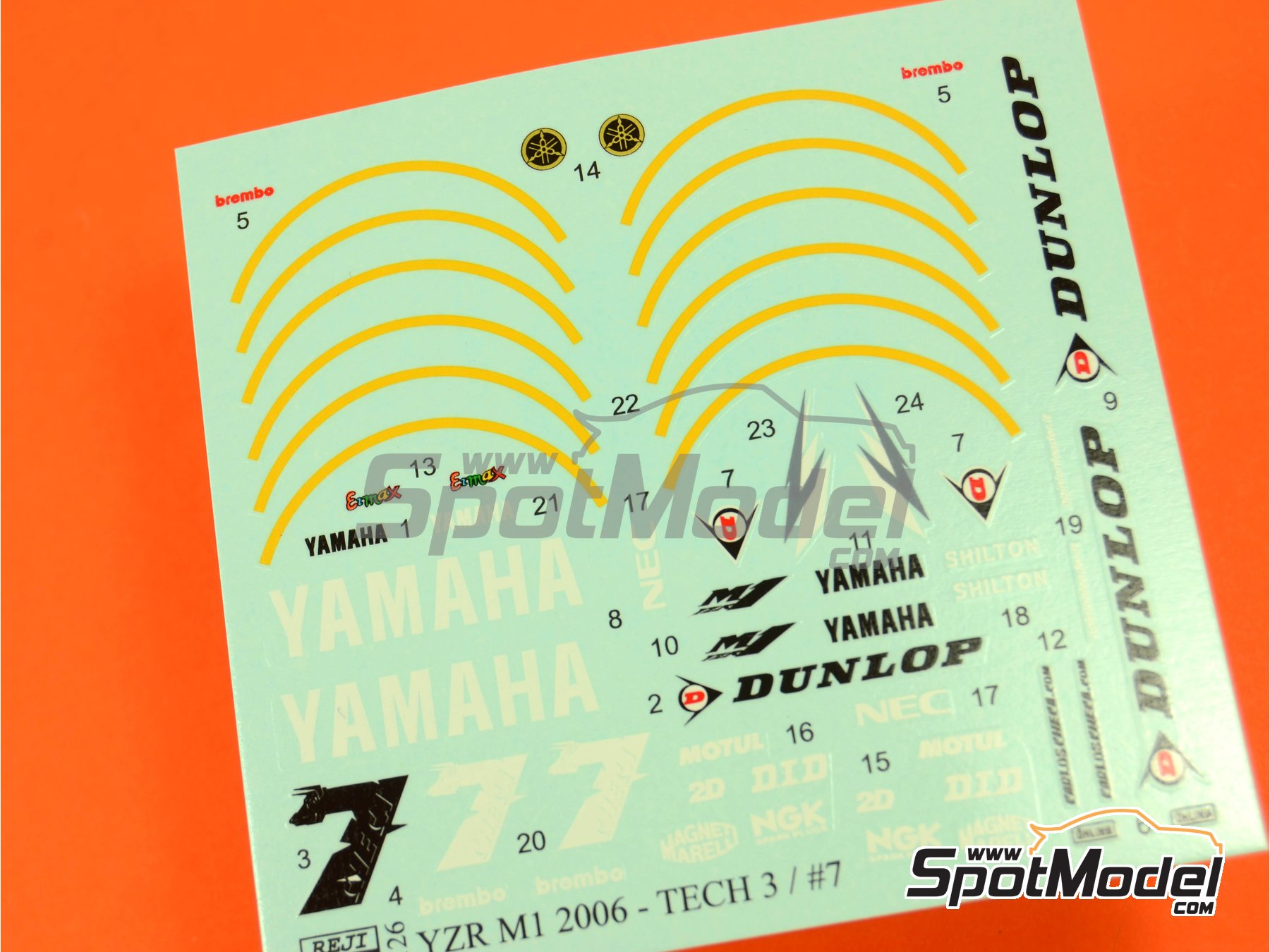 Image 4: Yamaha YZR-M1 Tech3 Dunlop - Motorcycle World Championship 2006   Marking / livery in 1/12 scale manufactured by Reji Model (ref.REJI-126)