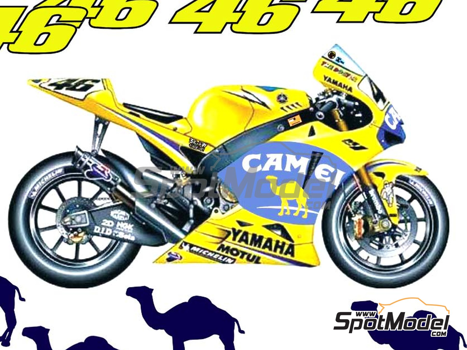 Image 1: Yamaha YZR M1 Camel - Motorcycle World Championship 2006 | Marking / livery in 1/12 scale manufactured by Reji Model (ref. REJI-128)