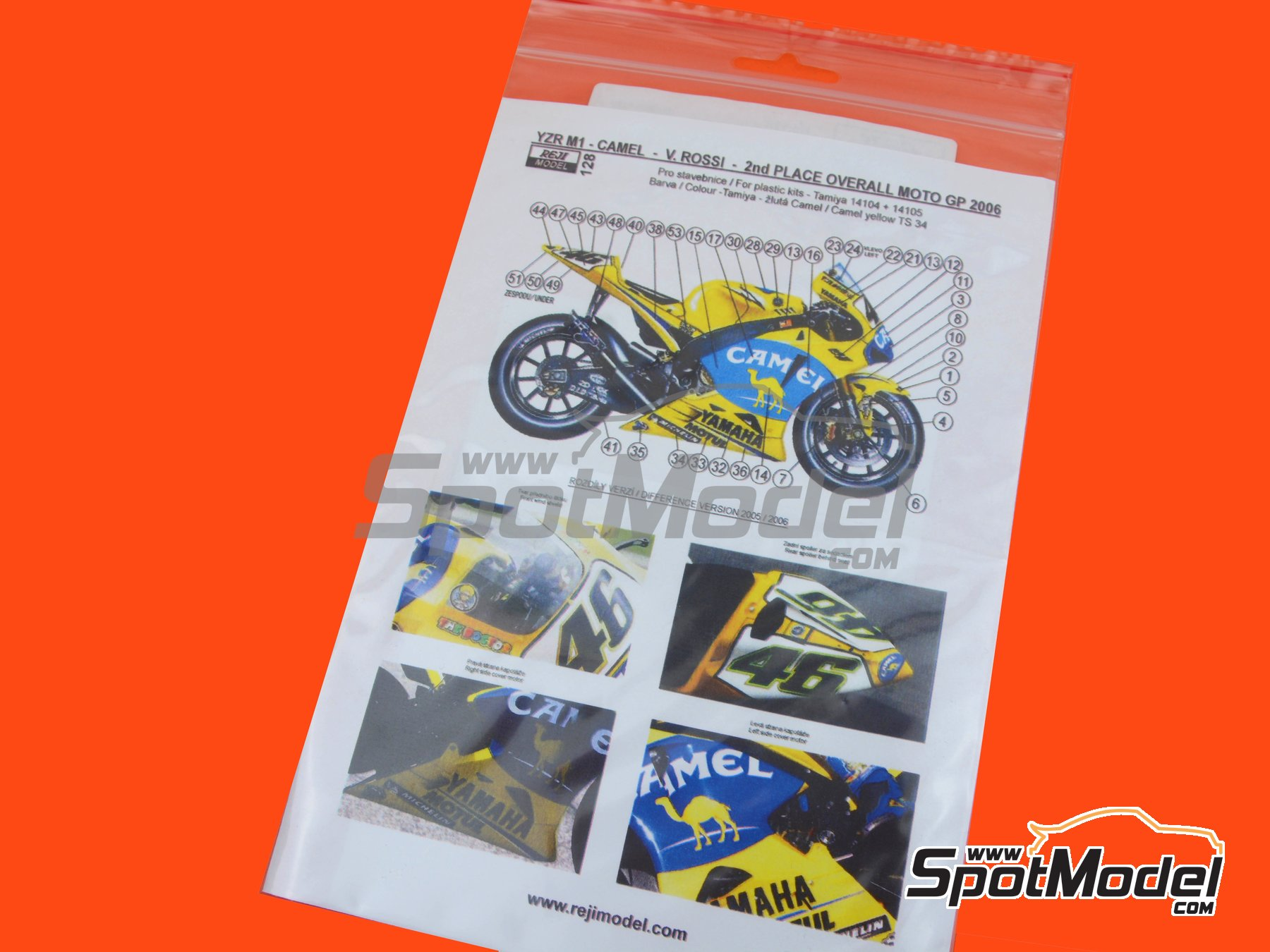 Image 2: Yamaha YZR M1 Camel - Motorcycle World Championship 2006 | Marking / livery in 1/12 scale manufactured by Reji Model (ref. REJI-128)