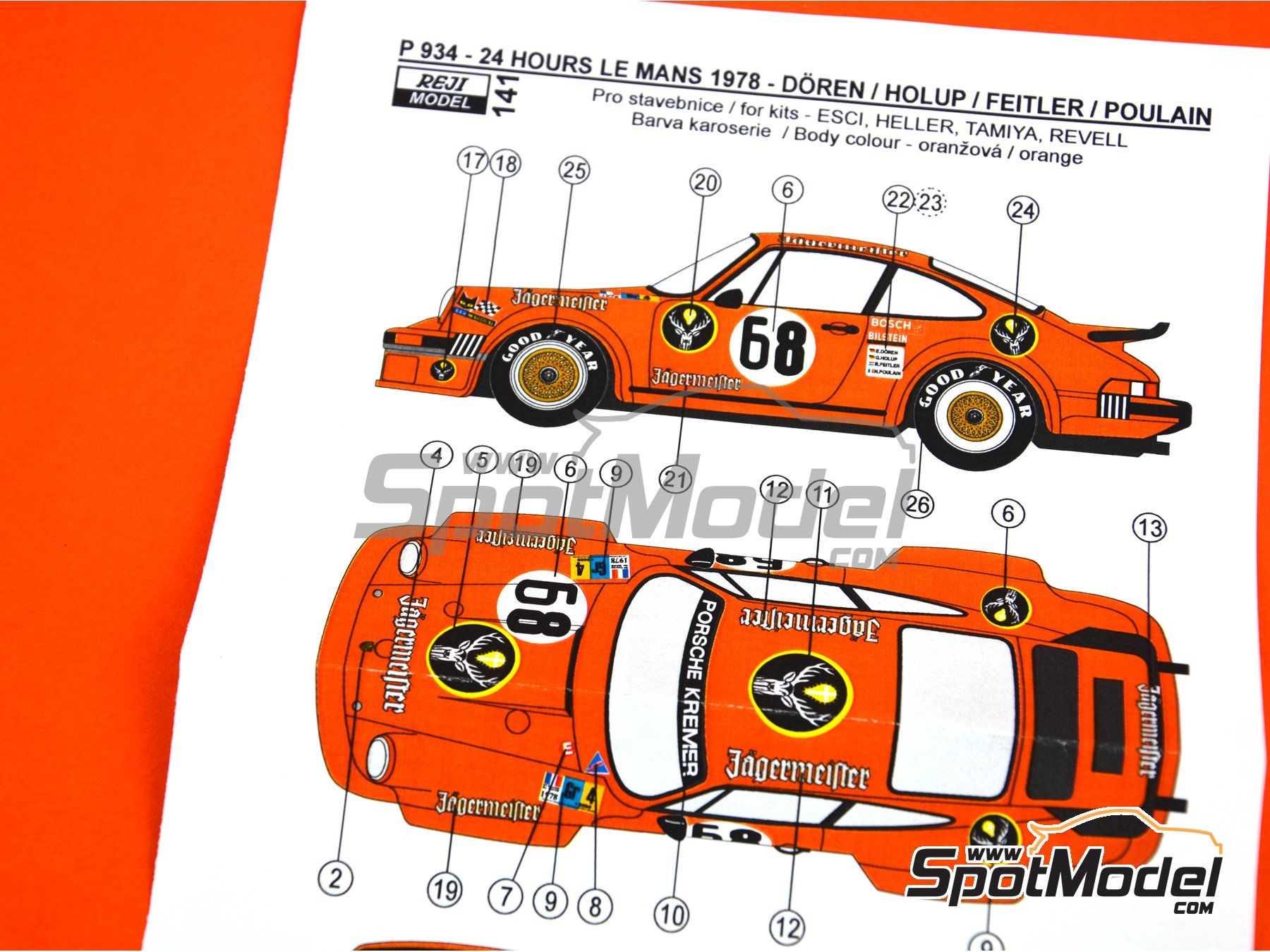 Image 4: Porsche 934 Turbo RSR Group 4 Jagermeister Kremer - 24 Hours Le Mans 1978 | Marking / livery in 1/24 scale manufactured by Reji Model (ref. REJI-141)