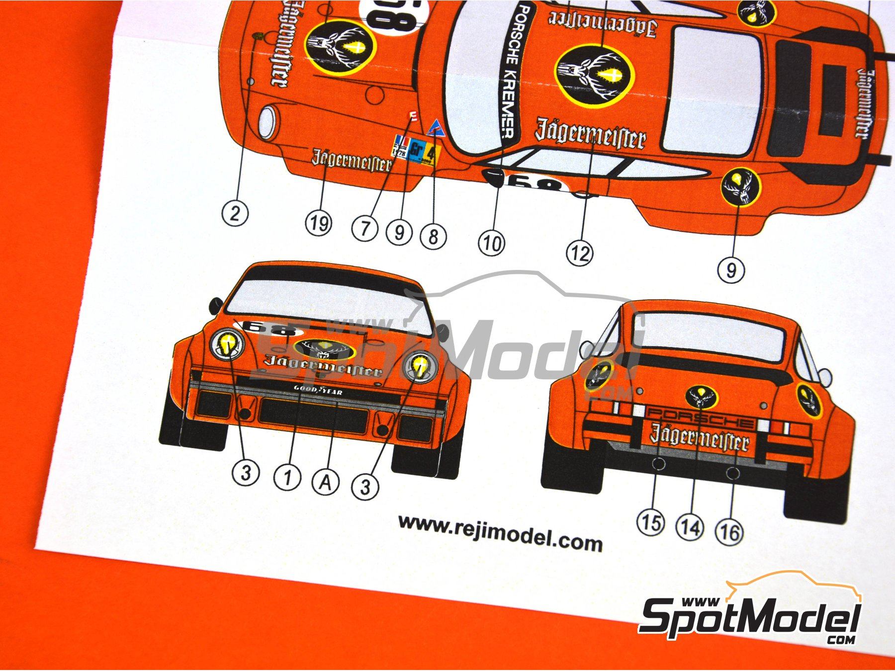 Image 5: Porsche 934 Turbo RSR Group 4 Jagermeister Kremer - 24 Hours Le Mans 1978 | Marking / livery in 1/24 scale manufactured by Reji Model (ref. REJI-141)