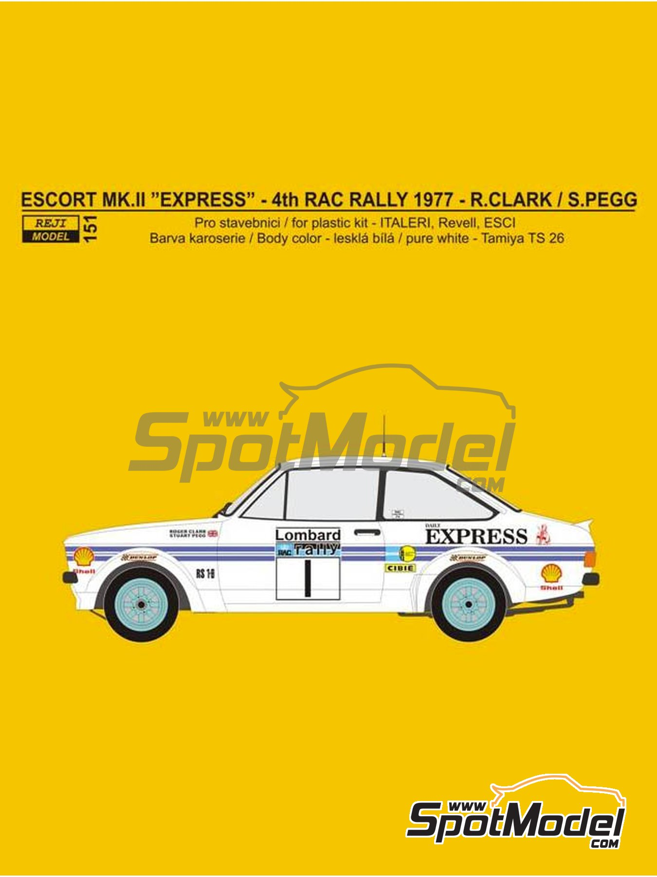 Ford Escort Mk. II Daily Express - Great Britain RAC Rally 1977 | Marking / livery in 1/24 scale manufactured by Reji Model (ref. REJI-151) image