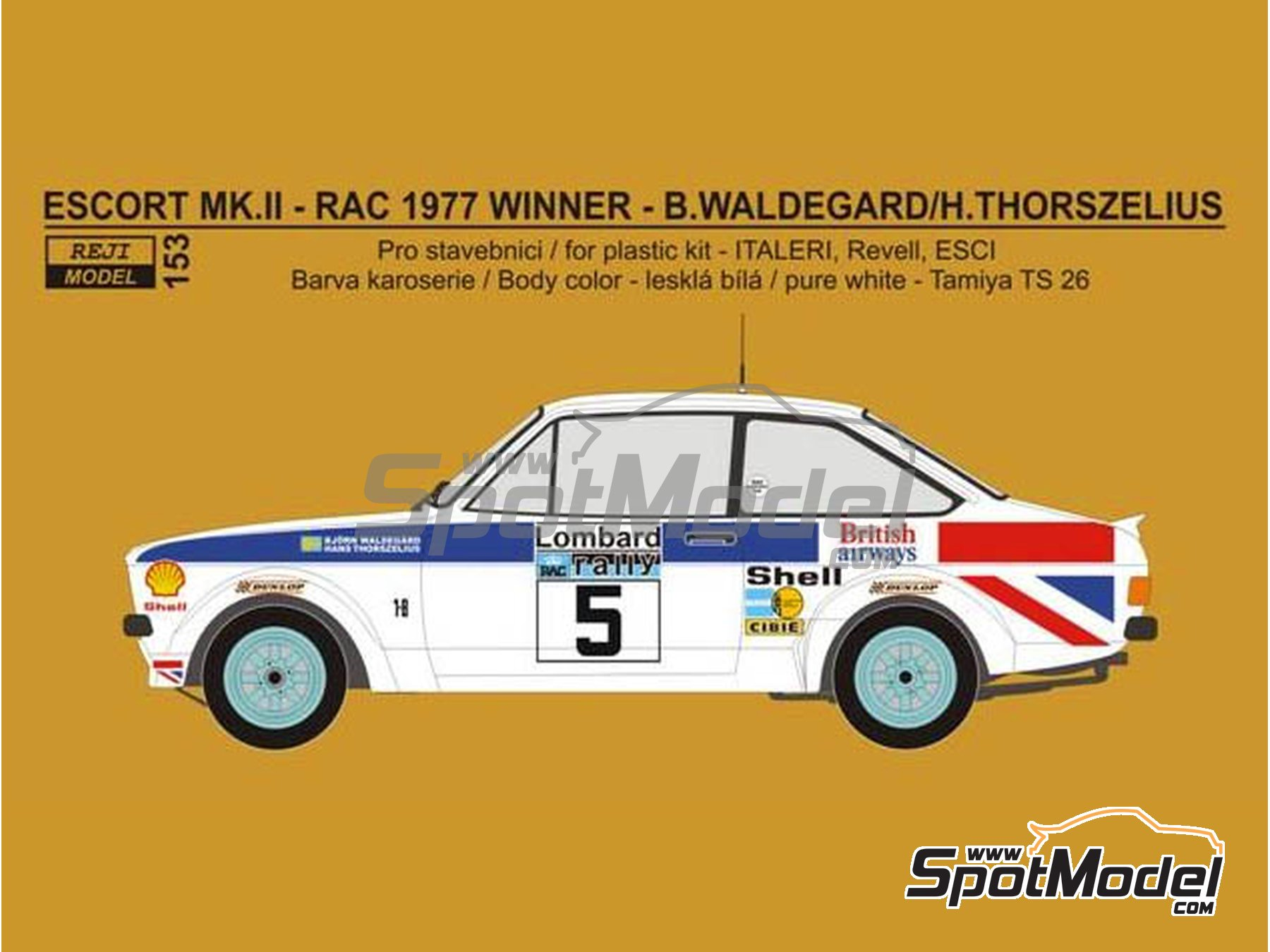 Image 2: Ford Escort Mk. II British Airways - Rally de Inglaterra RAC 1977 | Decoración en escala 1/24 fabricado por Reji Model (ref. REJI-153)
