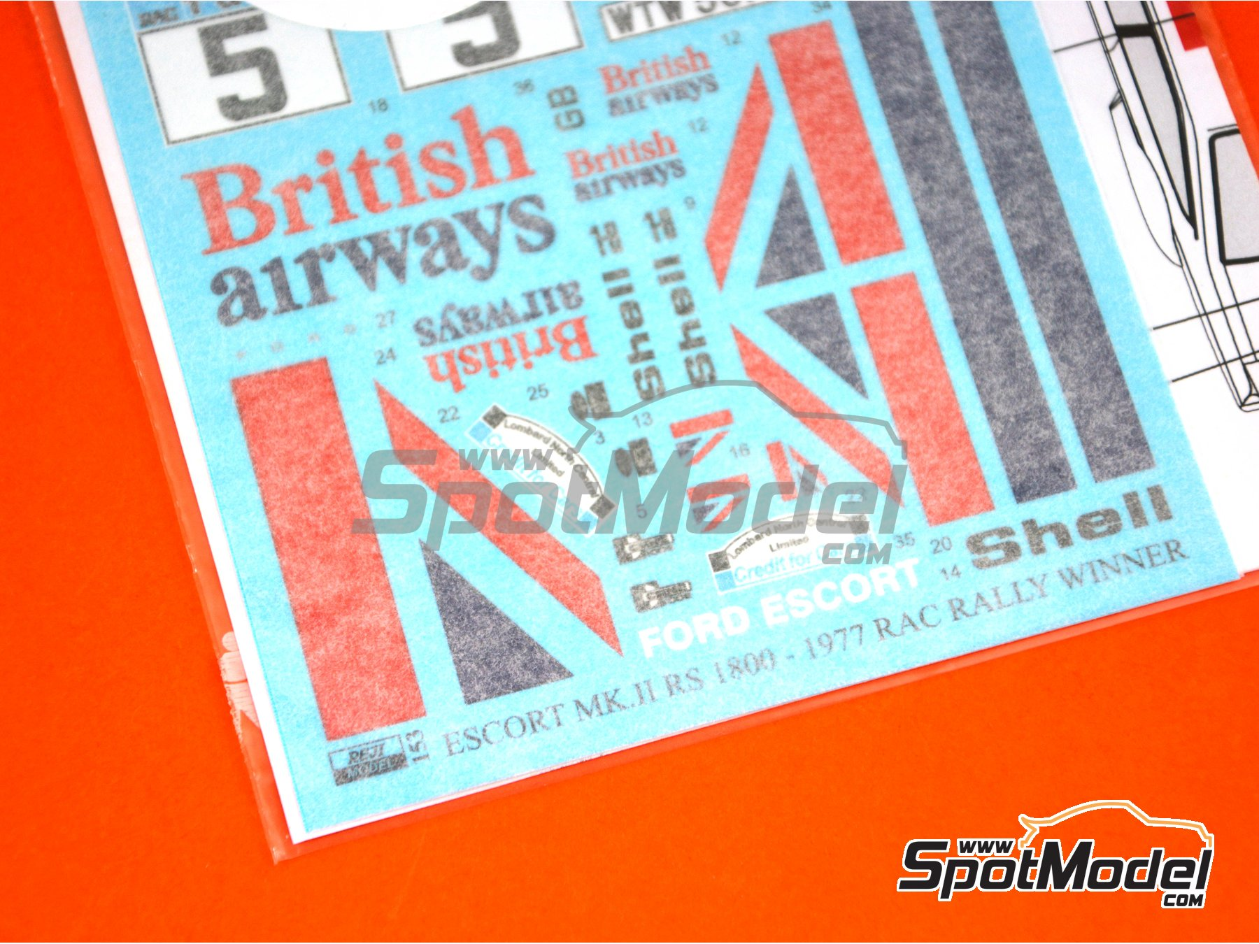 Image 5: Ford Escort Mk. II British Airways - Rally de Inglaterra RAC 1977 | Decoración en escala 1/24 fabricado por Reji Model (ref. REJI-153)