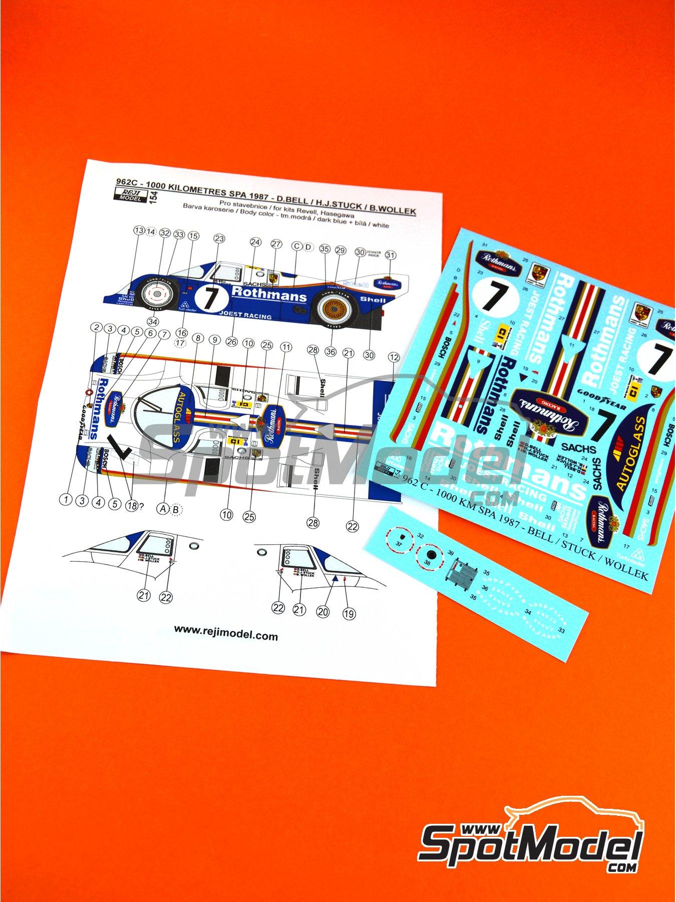 Porsche 962C - 1000 Kms de SPA 1987 | Decoración en escala1/24 fabricado por Reji Model (ref.REJI-154) image