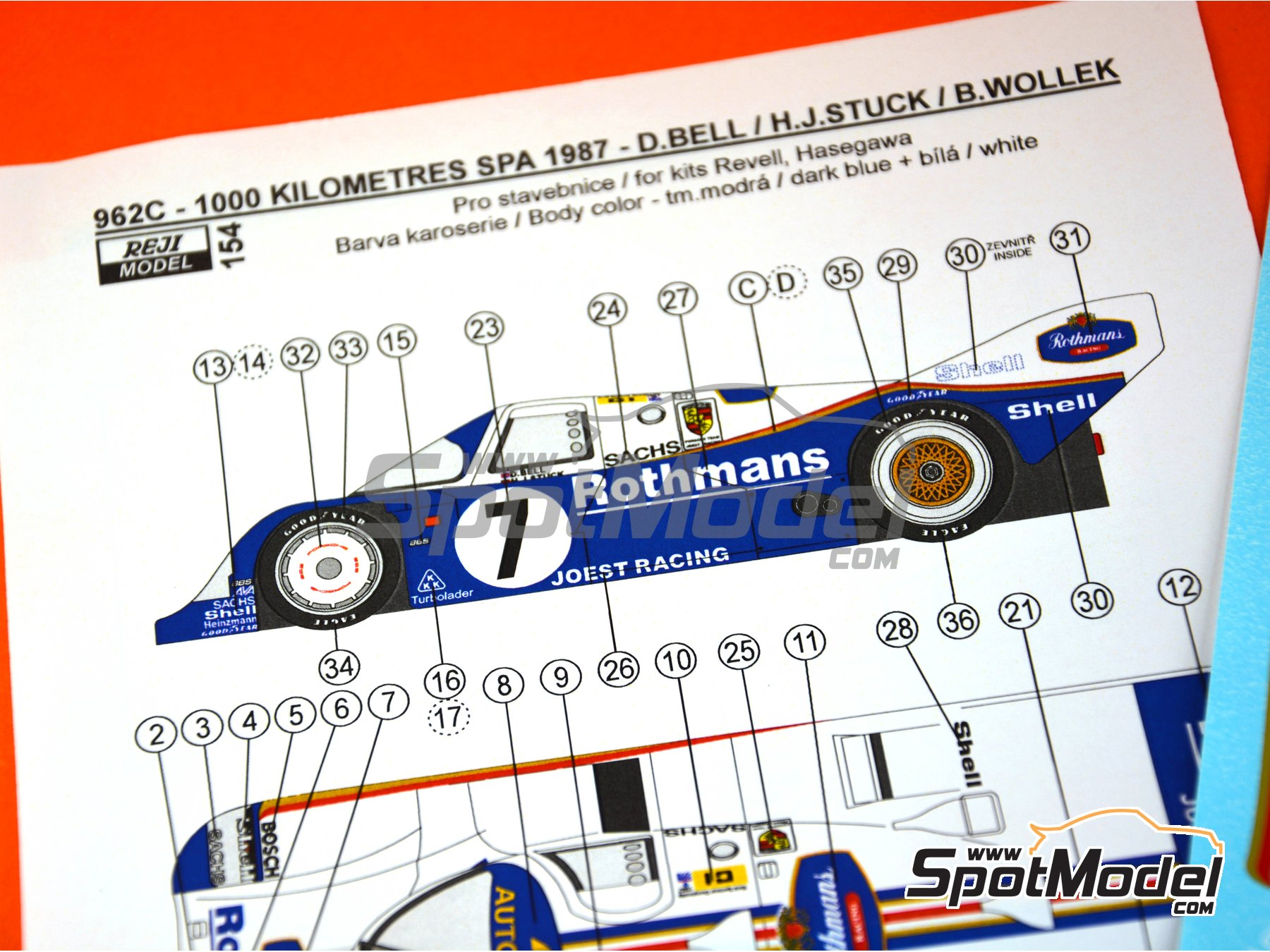 Image 1: Porsche 962C Rothmans - 1000 Kms SPA 1987 | Marking / livery in 1/24 scale manufactured by Reji Model (ref.REJI-154)