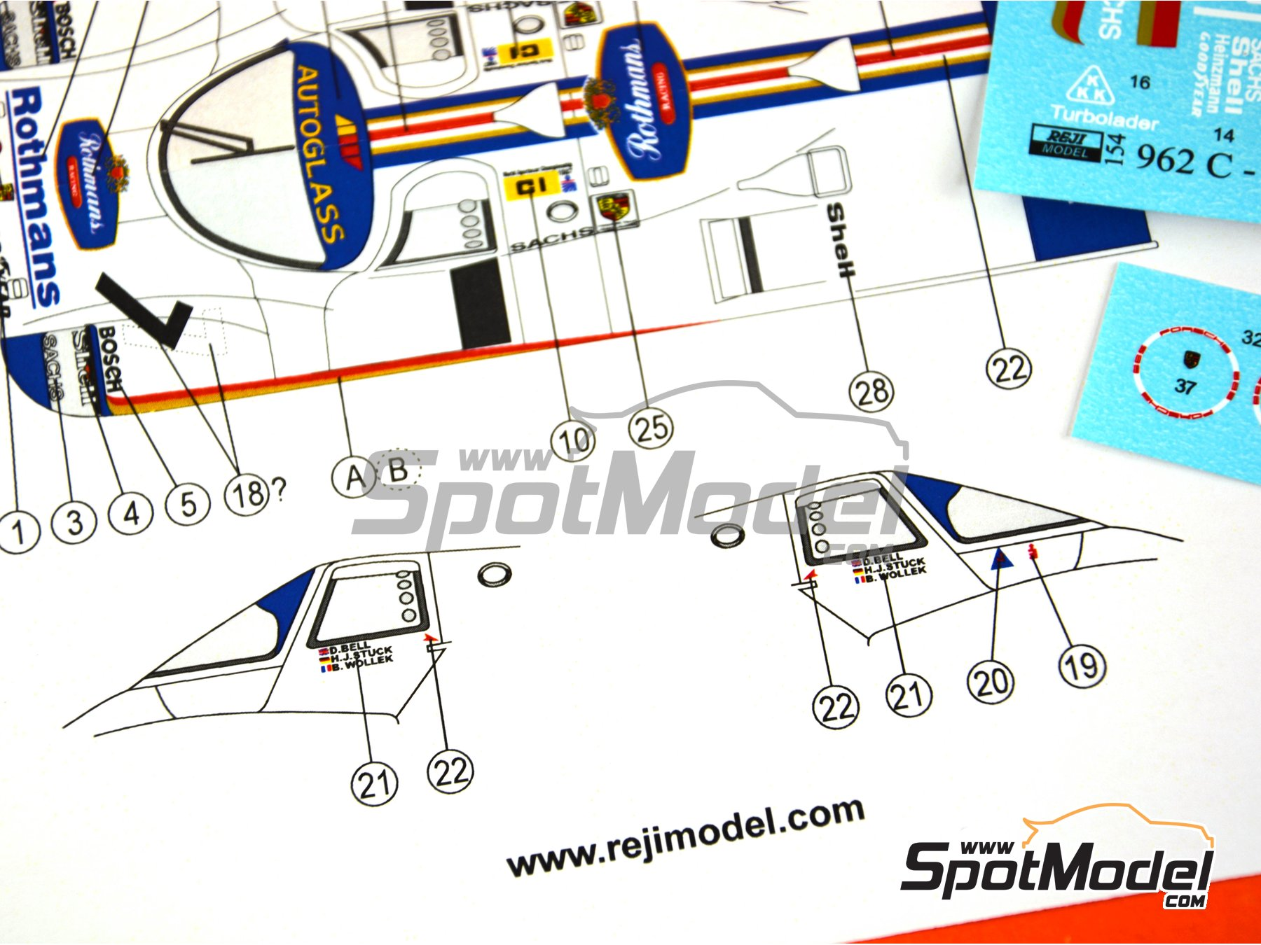 Image 2: Porsche 962C Rothmans - 1000 Kms SPA 1987 | Marking / livery in 1/24 scale manufactured by Reji Model (ref.REJI-154)