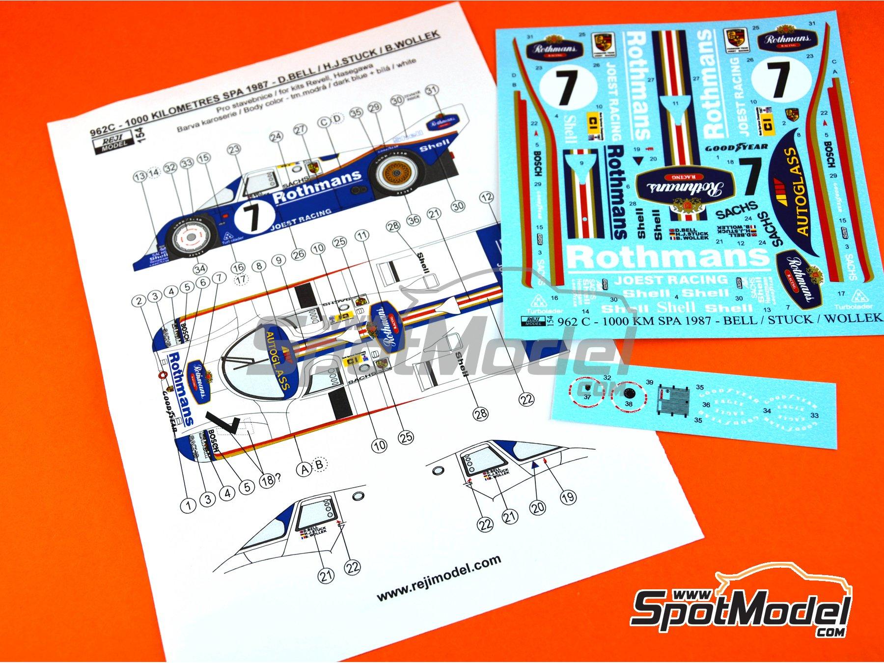 Image 6: Porsche 962C - 1000 Kms de SPA 1987 | Decoración en escala1/24 fabricado por Reji Model (ref.REJI-154)