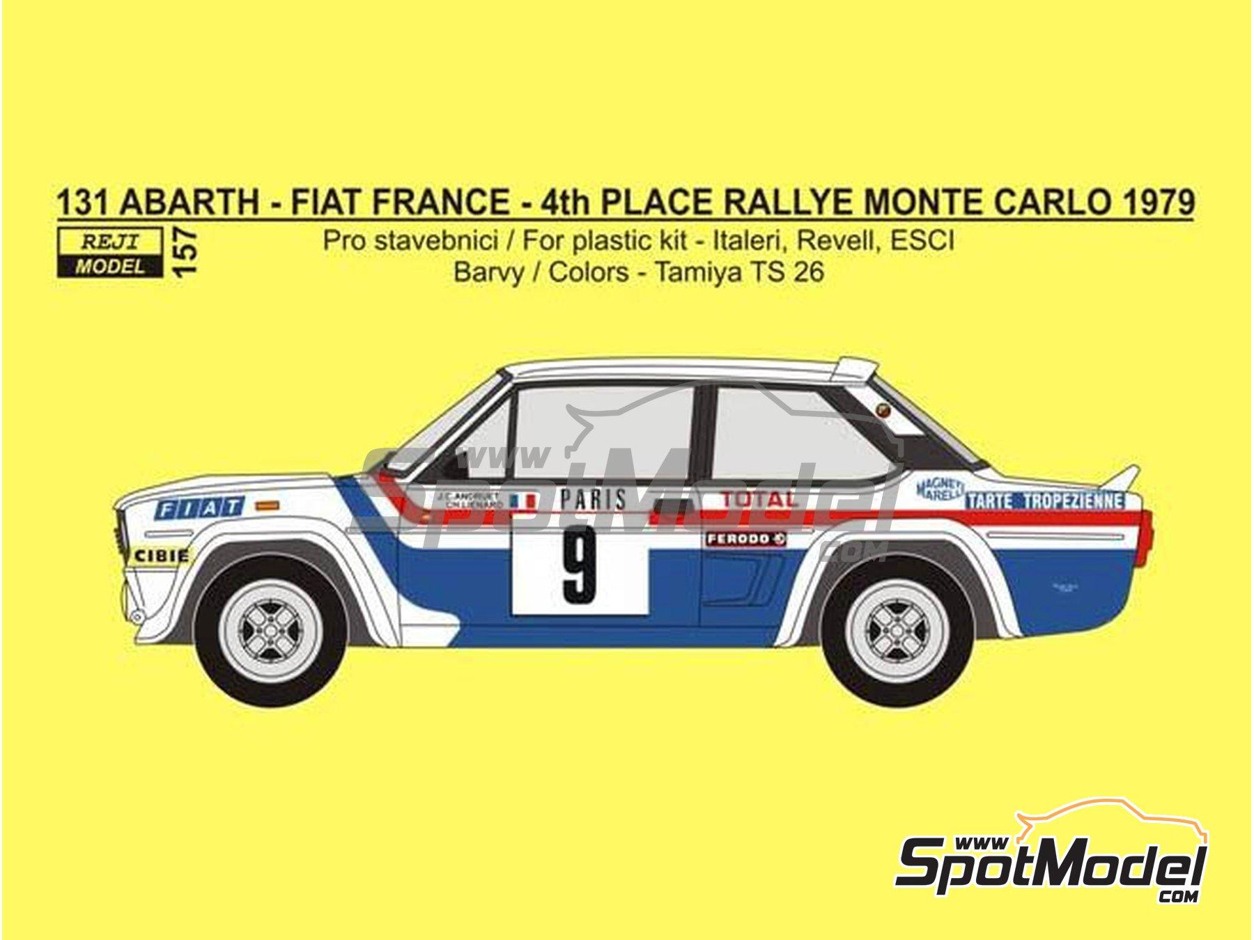 Image 1: Fiat 131 Abarth Fiat France - Montecarlo Rally - Rallye Automobile de Monte-Carlo 1979 | Marking / livery in 1/24 scale manufactured by Reji Model (ref.REJI-157)