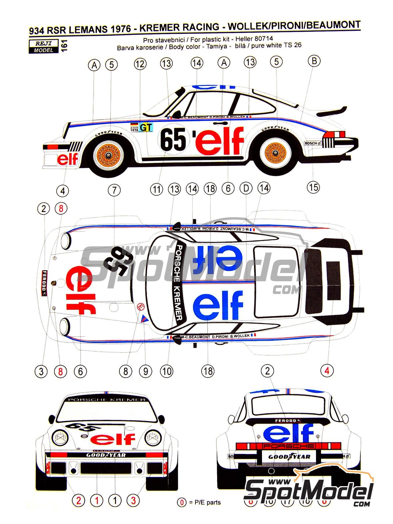 Porsche 934 Turbo RSR Grupo 4 ELF - 24 Horas de Le Mans 1976   Decoración en escala1/24 fabricado por Reji Model (ref.REJI-161) image