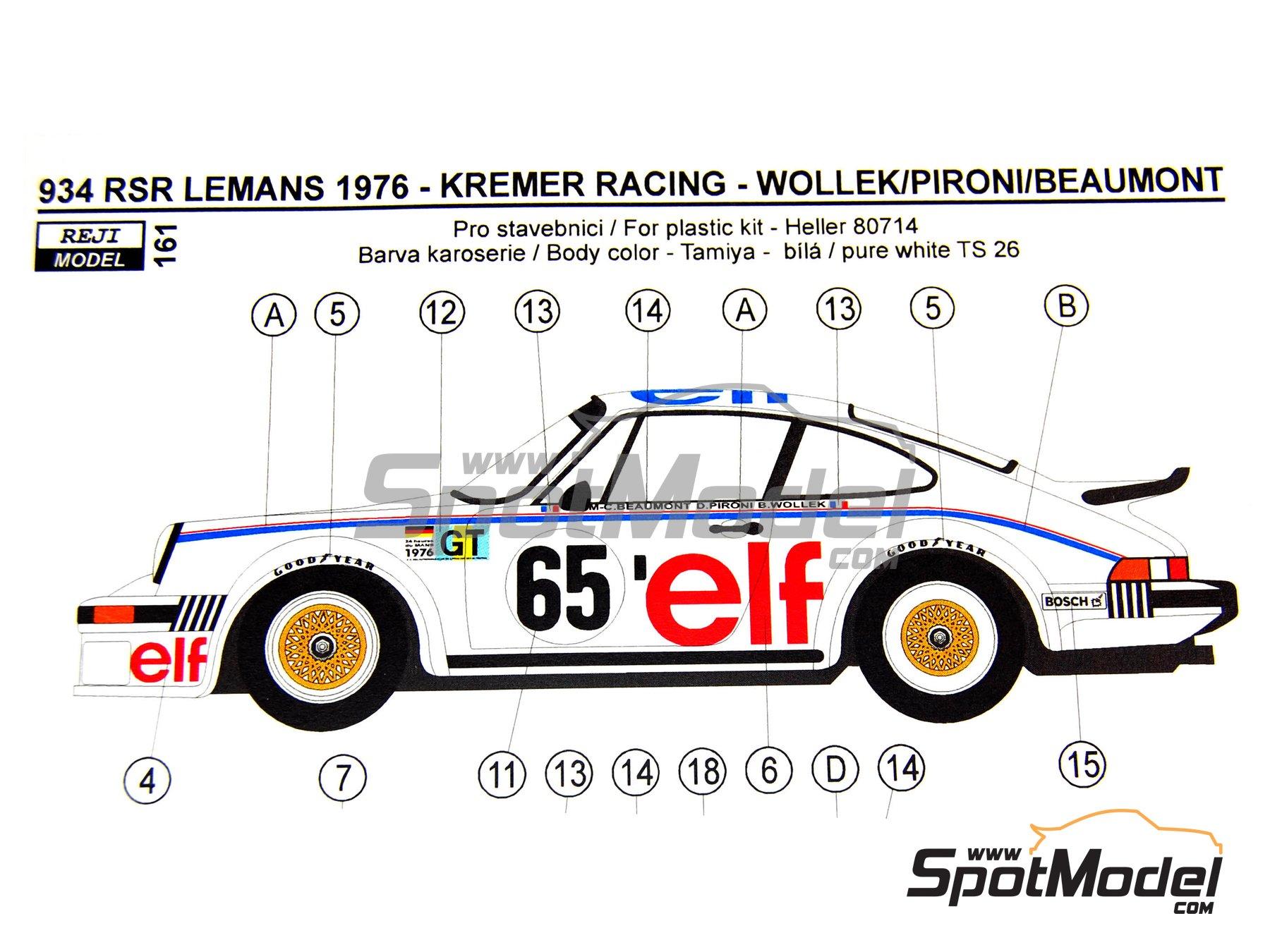 Image 1: Porsche 934 Turbo RSR Grupo 4 ELF - 24 Horas de Le Mans 1976   Decoración en escala1/24 fabricado por Reji Model (ref.REJI-161)