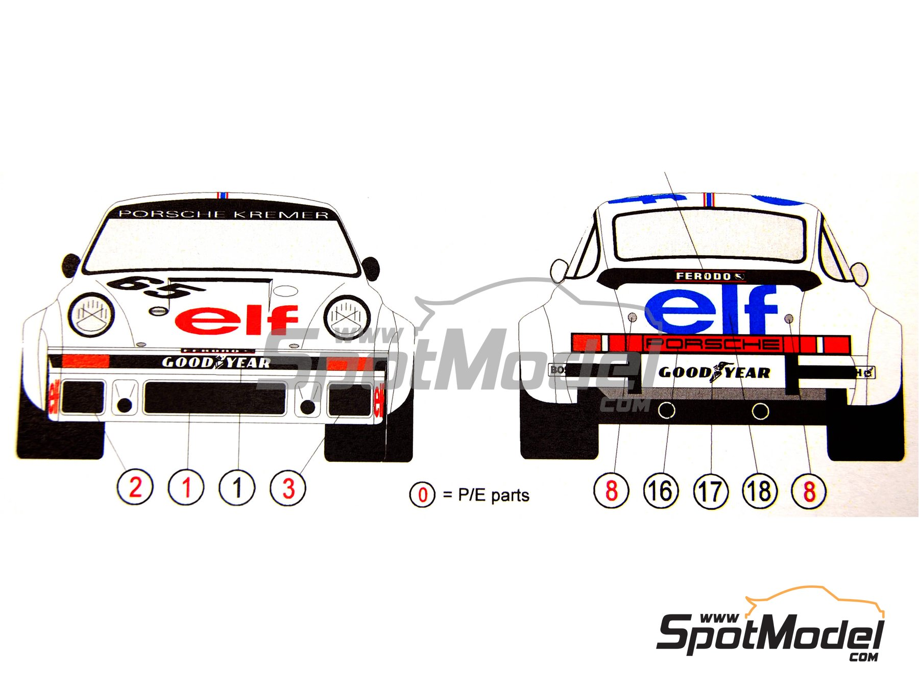 Image 3: Porsche 934 Turbo RSR Grupo 4 ELF - 24 Horas de Le Mans 1976   Decoración en escala1/24 fabricado por Reji Model (ref.REJI-161)