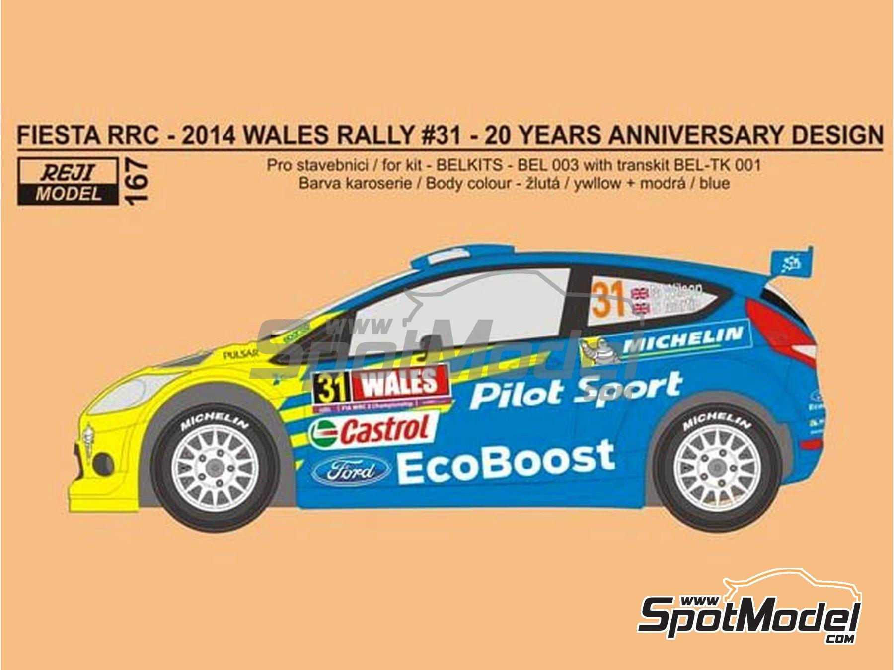 Image 1: Ford Fiesta RRC Michelin - Rally de Gales 2014 | Decoración en escala1/24 fabricado por Reji Model (ref.REJI-167)