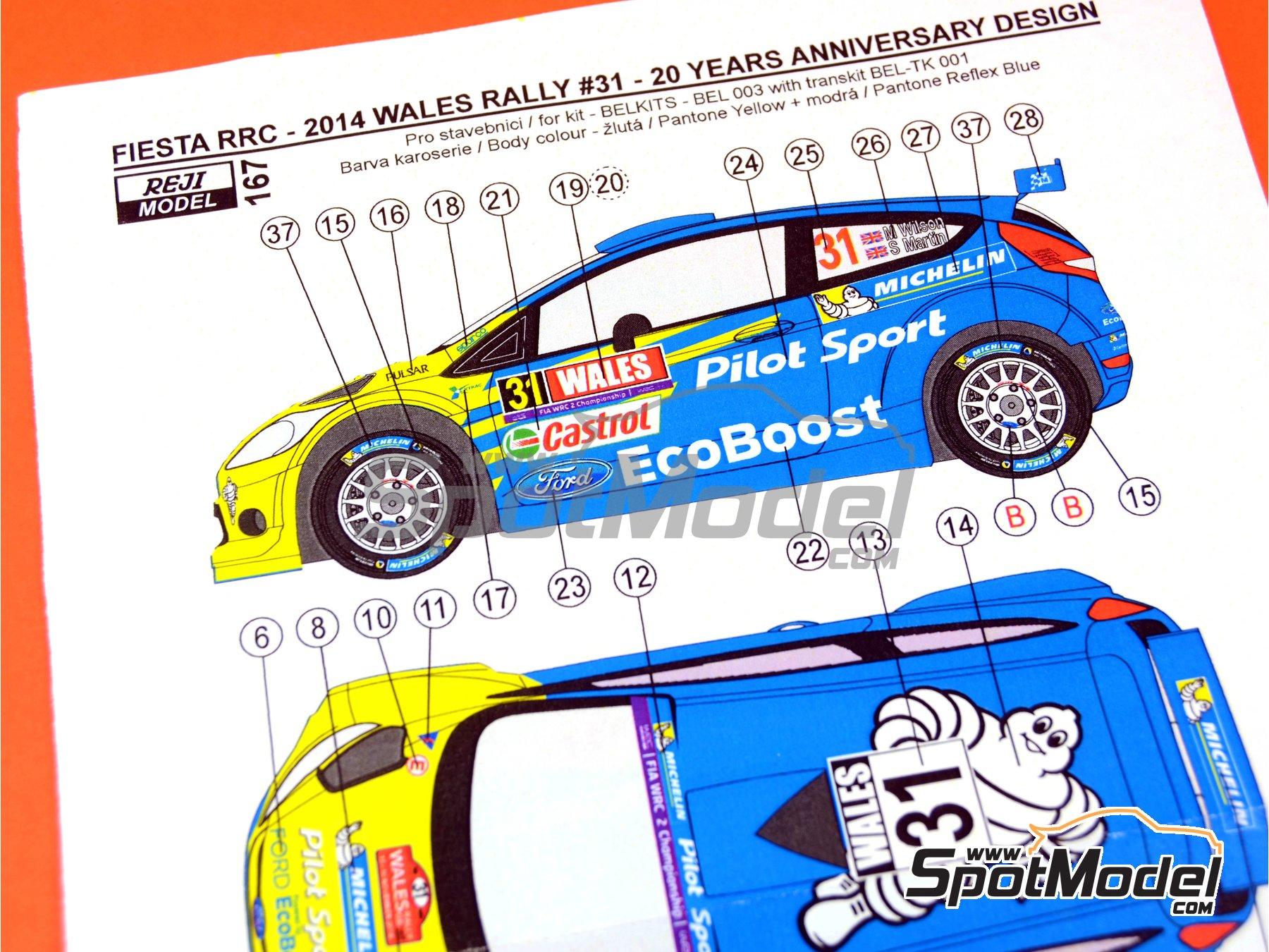 Image 7: Ford Fiesta RRC Michelin - Rally de Gales 2014 | Decoración en escala1/24 fabricado por Reji Model (ref.REJI-167)