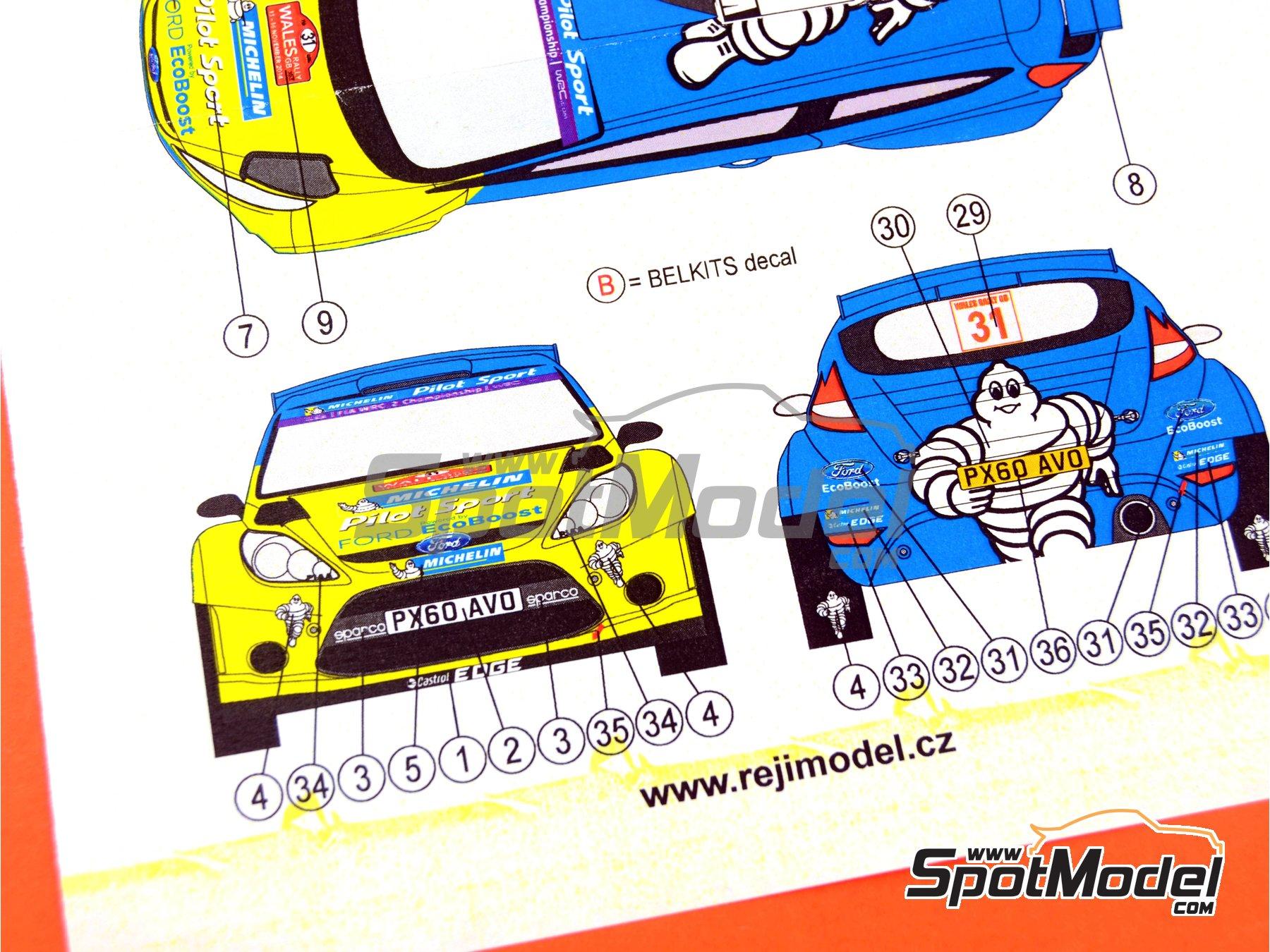 Image 8: Ford Fiesta RRC Michelin - Rally de Gales 2014 | Decoración en escala1/24 fabricado por Reji Model (ref.REJI-167)