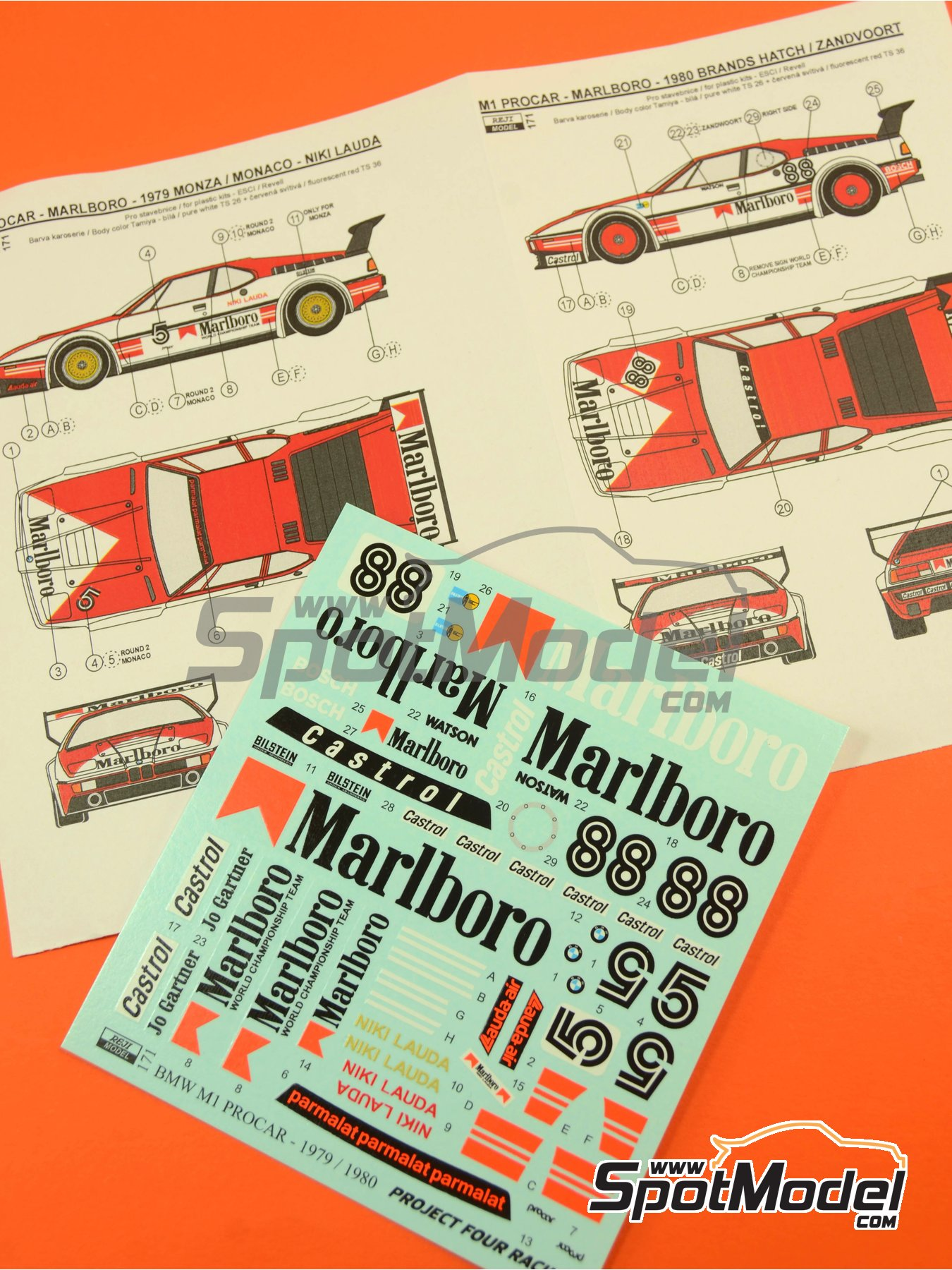 BMW M1 Grupo A Marlboro Procar - 1000 kilómetros de Brands Hatch, Gran Premio de Formula 1 de Mónaco 1980 | Decoración en escala1/24 fabricado por Reji Model (ref.REJI-171) image