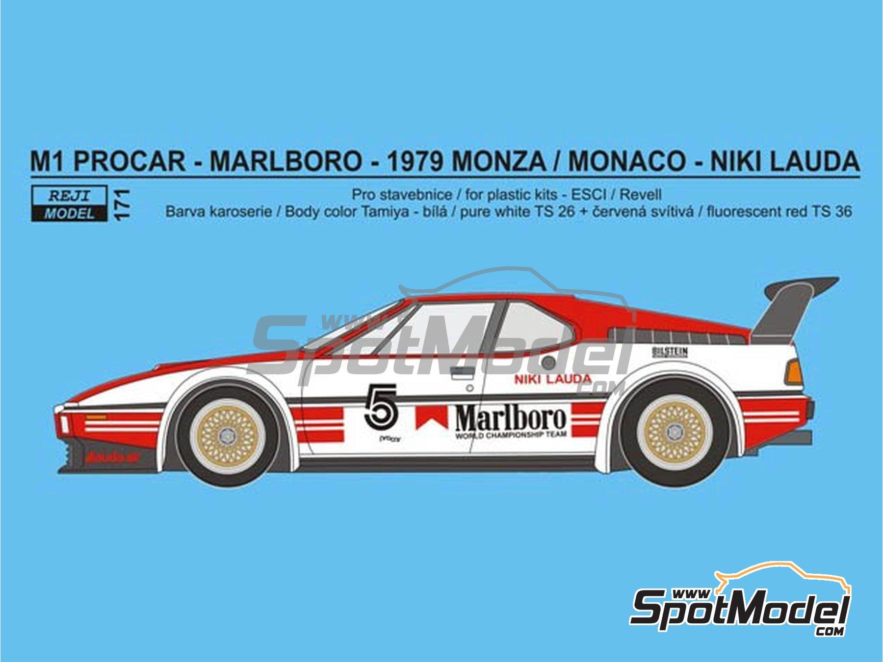 Image 1: BMW M1 Grupo A Marlboro Procar - 1000 kilómetros de Brands Hatch, Gran Premio de Formula 1 de Mónaco 1980 | Decoración en escala1/24 fabricado por Reji Model (ref.REJI-171)