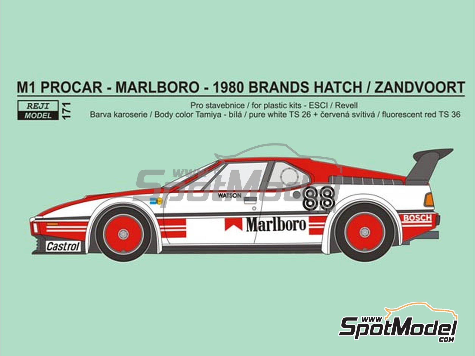Image 2: BMW M1 Grupo A Marlboro Procar - 1000 kilómetros de Brands Hatch, Gran Premio de Formula 1 de Mónaco 1980 | Decoración en escala1/24 fabricado por Reji Model (ref.REJI-171)