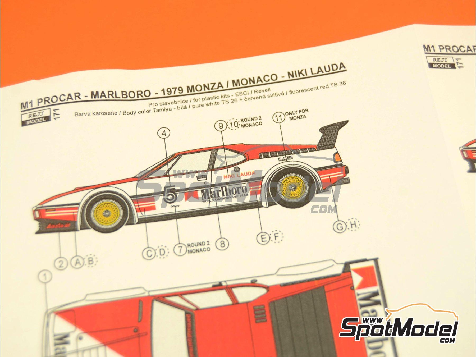 Image 8: BMW M1 Grupo A Marlboro Procar - 1000 kilómetros de Brands Hatch, Gran Premio de Formula 1 de Mónaco 1980 | Decoración en escala1/24 fabricado por Reji Model (ref.REJI-171)