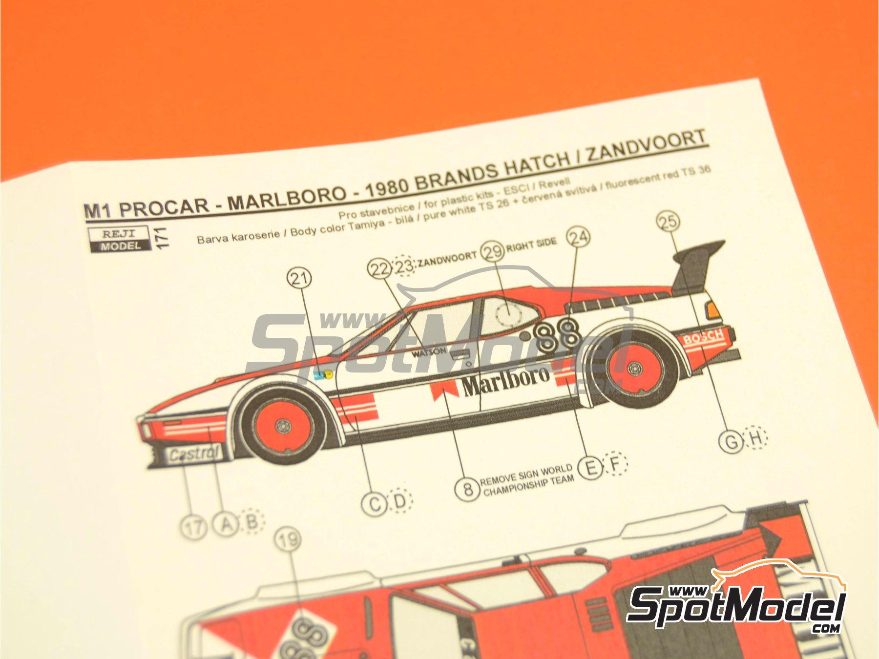 Image 10: BMW M1 Grupo A Marlboro Procar - 1000 kilómetros de Brands Hatch, Gran Premio de Formula 1 de Mónaco 1980 | Decoración en escala1/24 fabricado por Reji Model (ref.REJI-171)