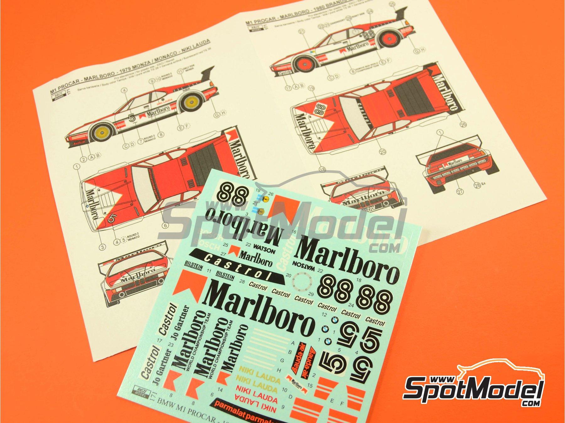 Image 11: BMW M1 Grupo A Marlboro Procar - 1000 kilómetros de Brands Hatch, Gran Premio de Formula 1 de Mónaco 1980 | Decoración en escala1/24 fabricado por Reji Model (ref.REJI-171)