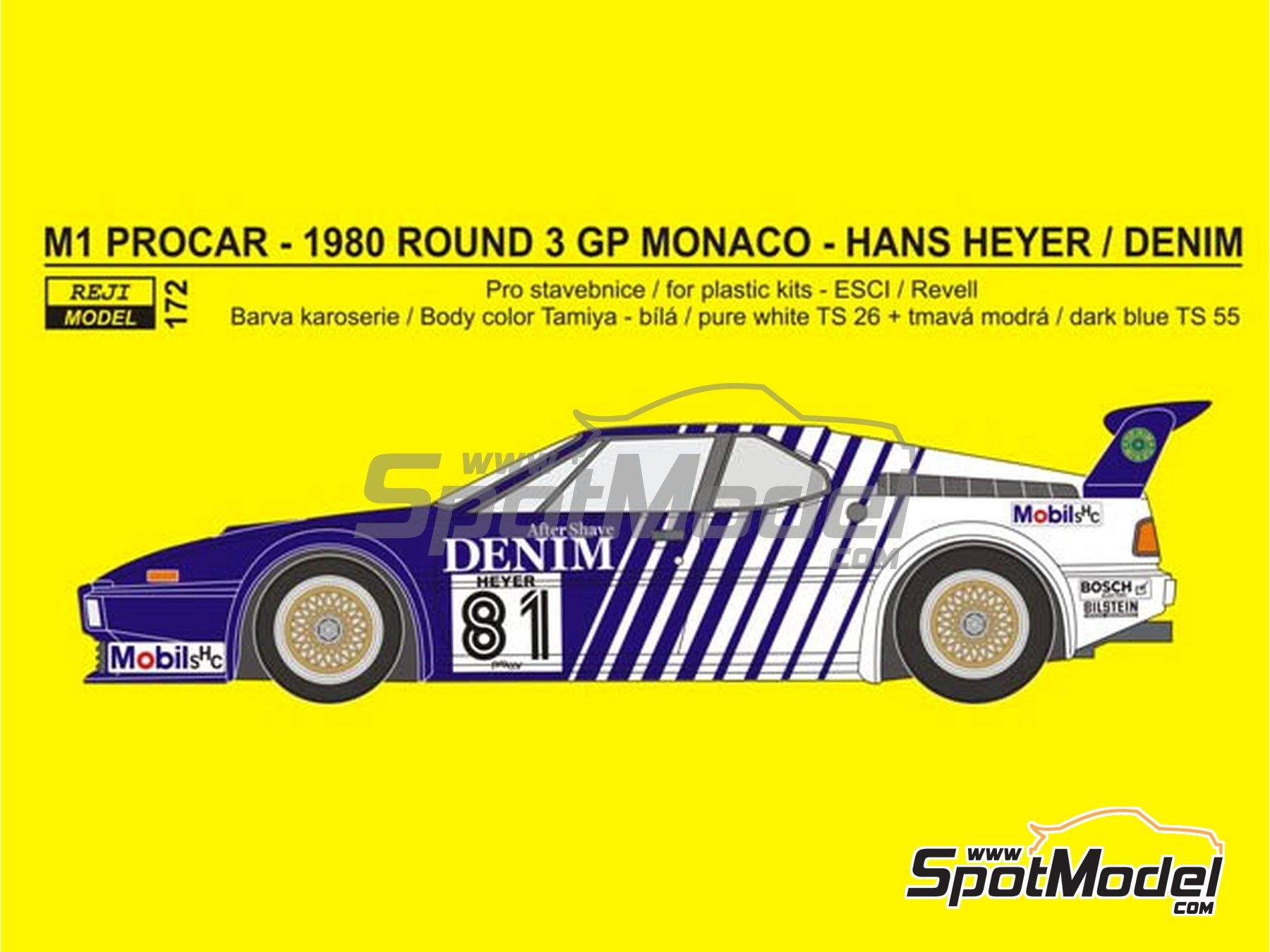 Image 1: BMW M1 Group A Denim Procar - Monaco Formula 1 Grand Prix 1980 | Marking / livery in 1/24 scale manufactured by Reji Model (ref.REJI-172)