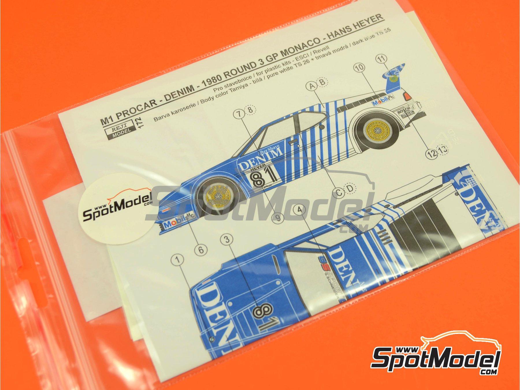 Image 2: BMW M1 Group A Denim Procar - Monaco Formula 1 Grand Prix 1980 | Marking / livery in 1/24 scale manufactured by Reji Model (ref.REJI-172)