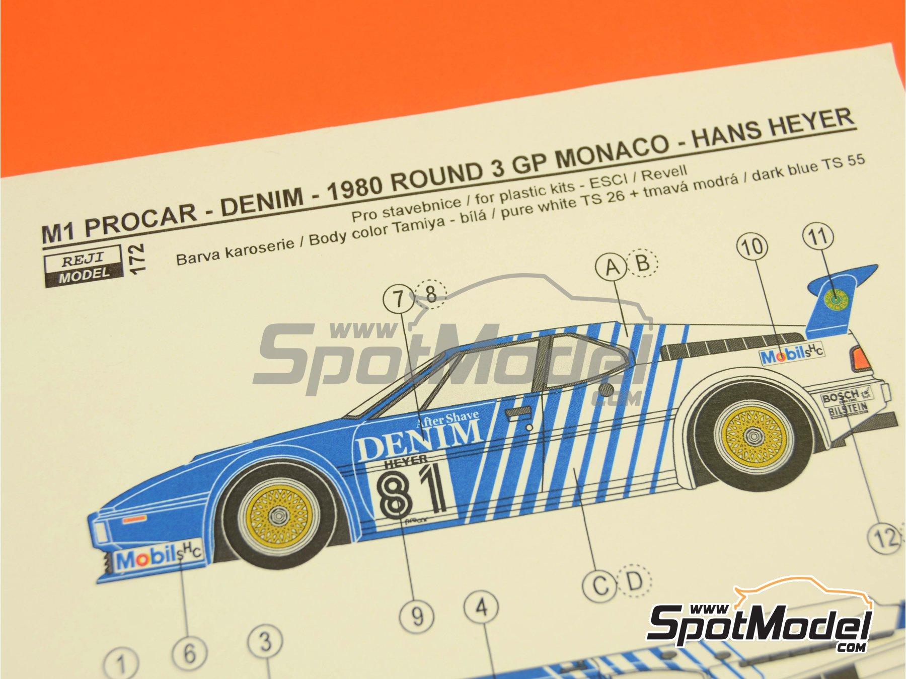 Image 7: BMW M1 Group A Denim Procar - Monaco Formula 1 Grand Prix 1980 | Marking / livery in 1/24 scale manufactured by Reji Model (ref.REJI-172)