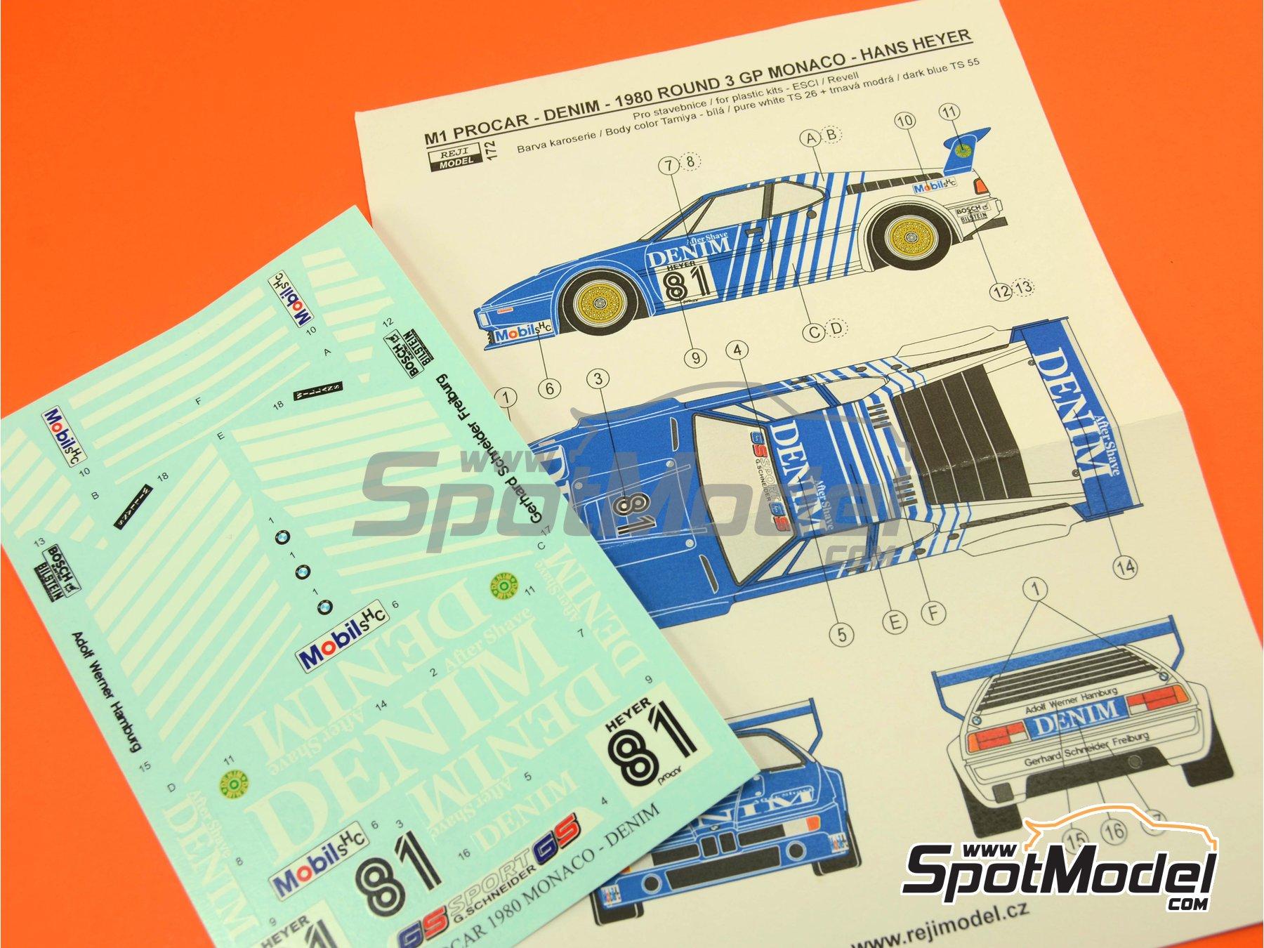 Image 10: BMW M1 Group A Denim Procar - Monaco Formula 1 Grand Prix 1980 | Marking / livery in 1/24 scale manufactured by Reji Model (ref.REJI-172)