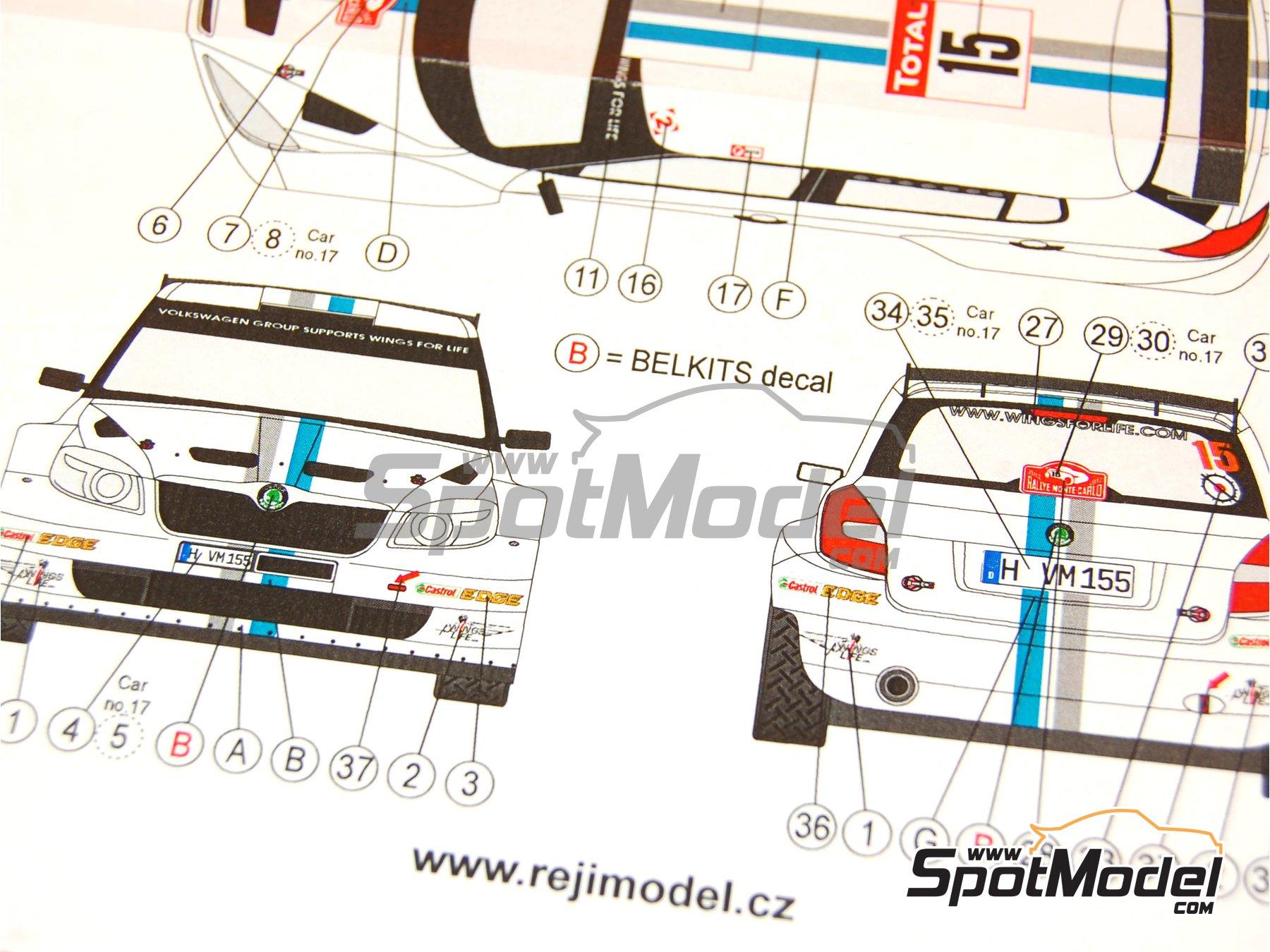 Image 9: Skoda Fabia S2000 Evo VM Motorsport - Montecarlo Rally - Rallye Automobile de Monte-Carlo 2012   Marking / livery in 1/24 scale manufactured by Reji Model (ref.REJI-180)