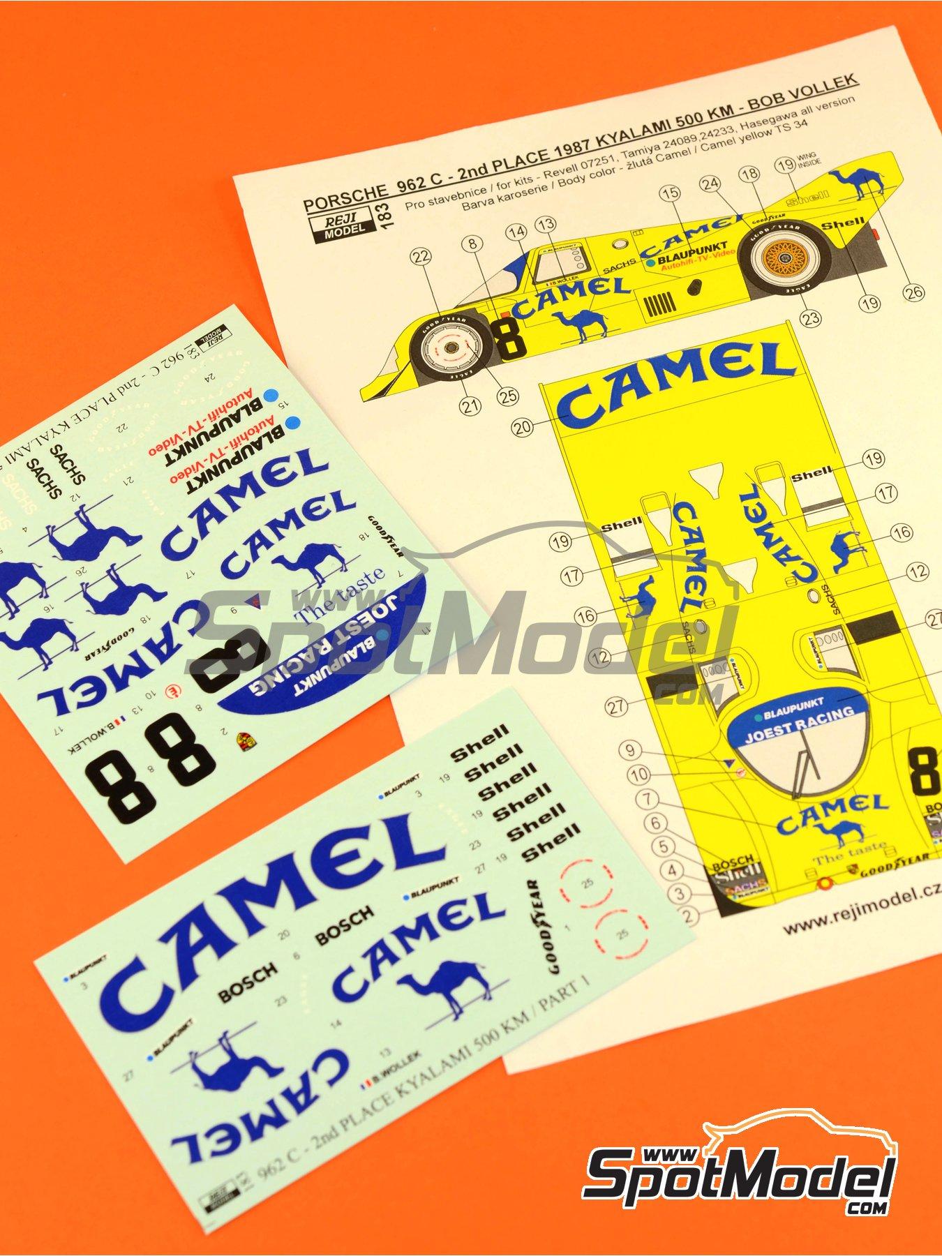 Porsche 962C Joest Racing Camel - 500 Km de Kyalami 1987 | Decoración en escala1/24 fabricado por Reji Model (ref.REJI-183) image
