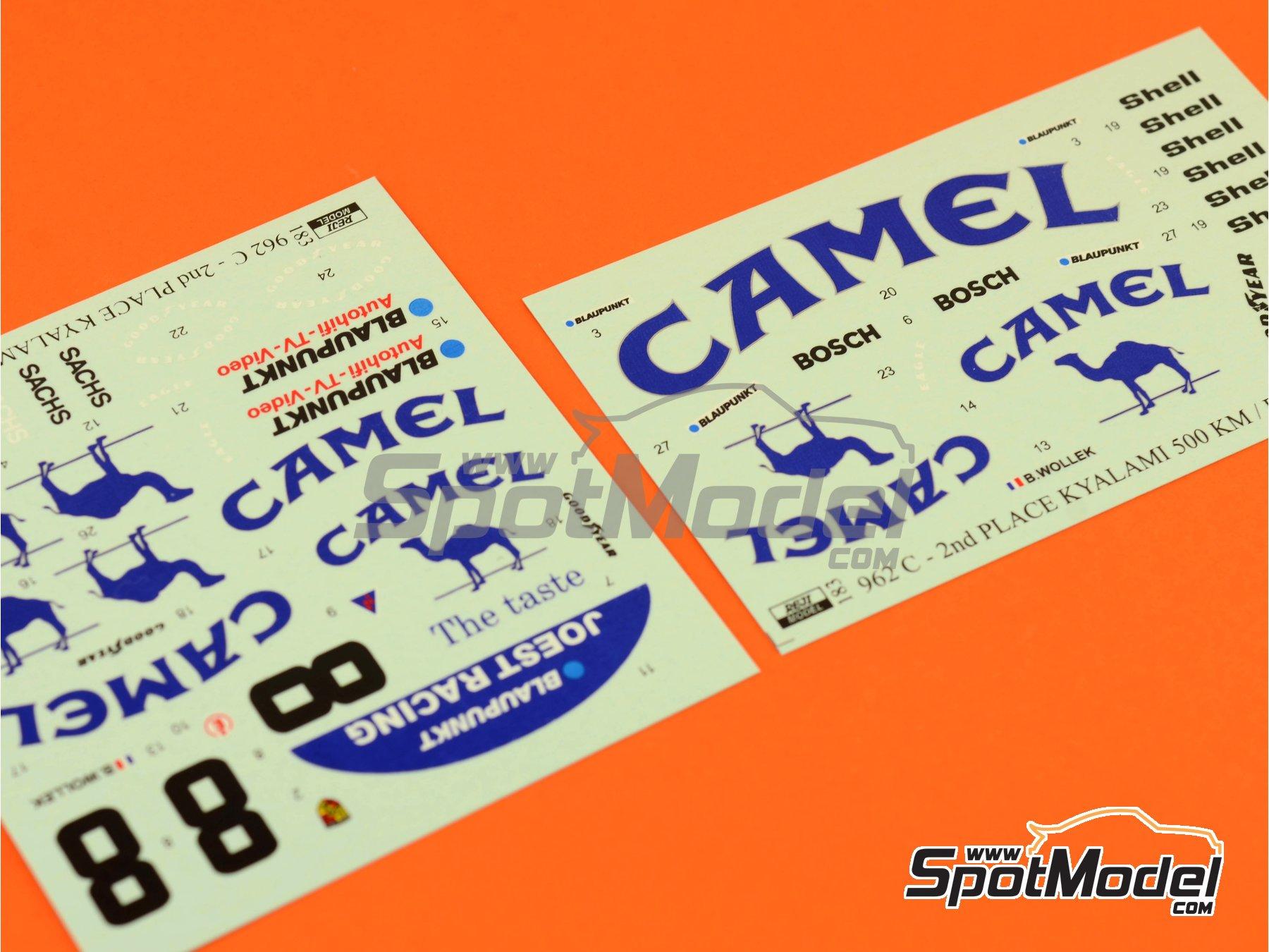 Image 1: Porsche 962C Joest Racing Camel - 500 Km de Kyalami 1987 | Decoración en escala1/24 fabricado por Reji Model (ref.REJI-183)