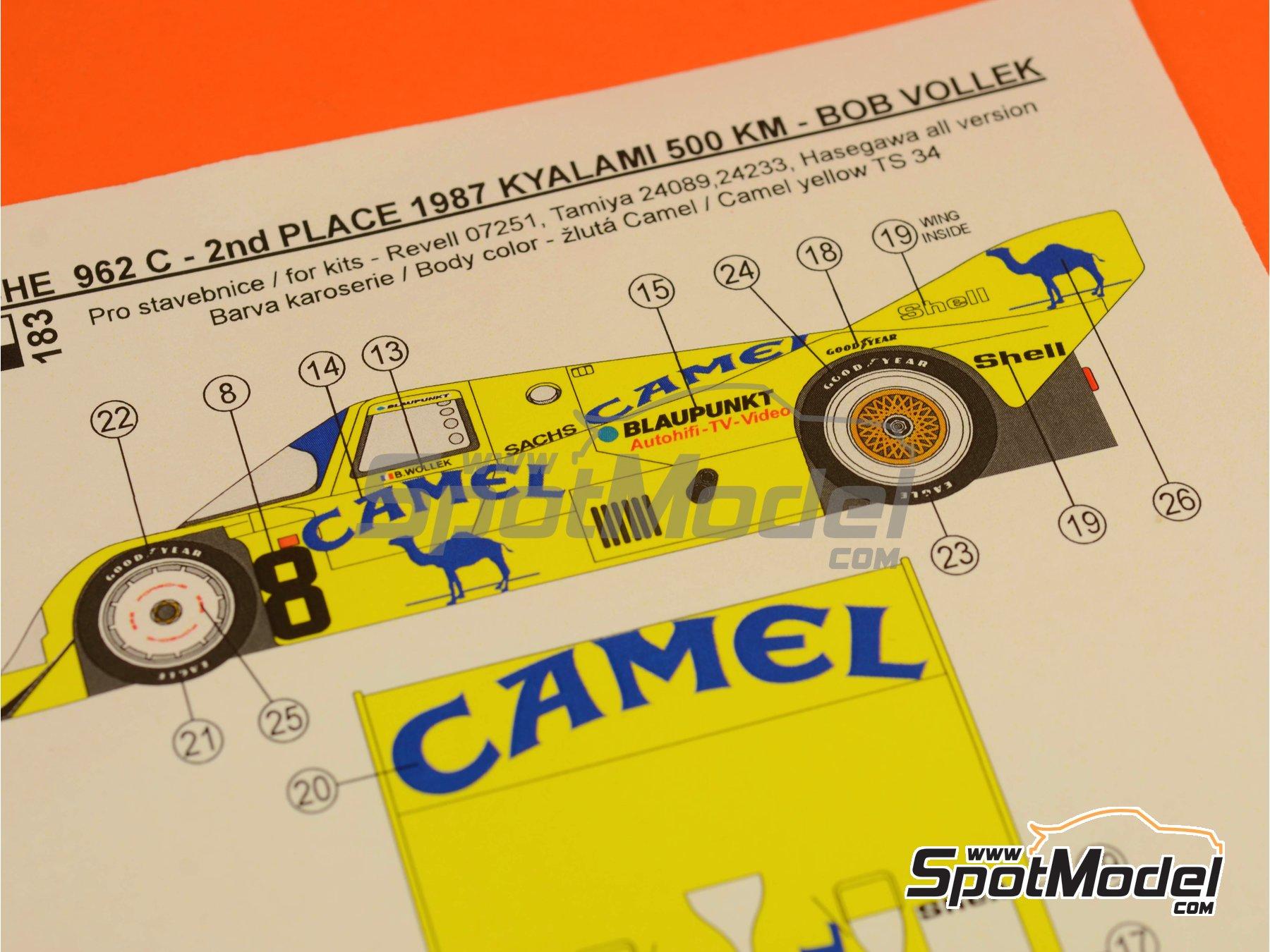 Image 2: Porsche 962C Joest Racing Camel - 500 Km de Kyalami 1987 | Decoración en escala1/24 fabricado por Reji Model (ref.REJI-183)