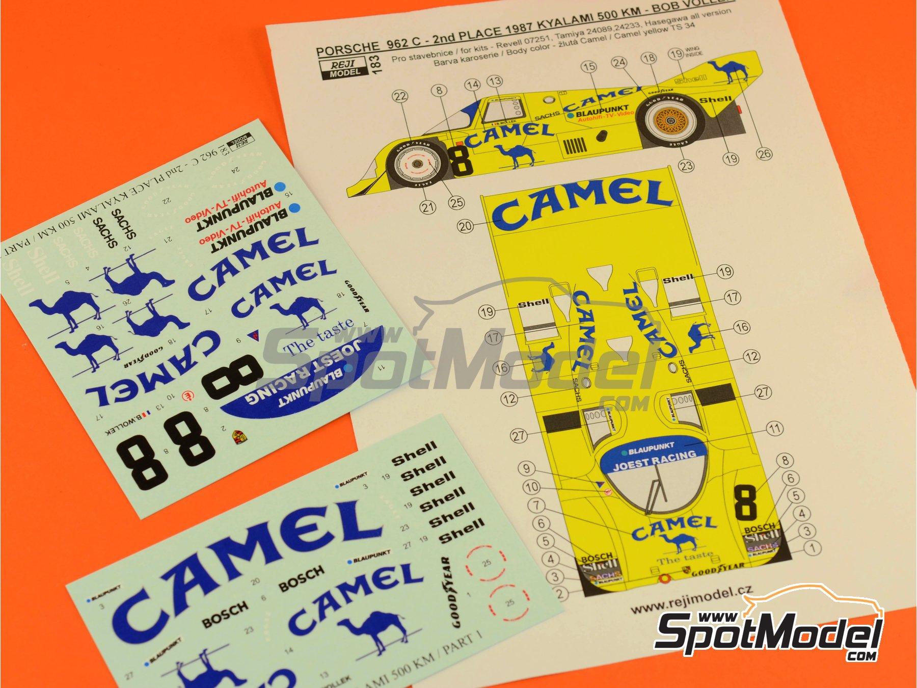 Image 9: Porsche 962C Joest Racing Camel - 500 Km de Kyalami 1987 | Decoración en escala1/24 fabricado por Reji Model (ref.REJI-183)