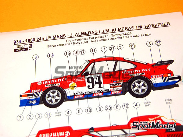 Image 12: Porsche 934 Turbo RSR Group 4 Eminence Almerass - 24 Hours Le Mans 1980 | Marking / livery in 1/24 scale manufactured by Reji Model (ref.REJI-184)