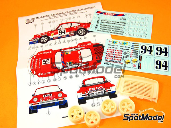 Image 13: Porsche 934 Turbo RSR Group 4 Eminence Almerass - 24 Hours Le Mans 1980 | Marking / livery in 1/24 scale manufactured by Reji Model (ref.REJI-184)