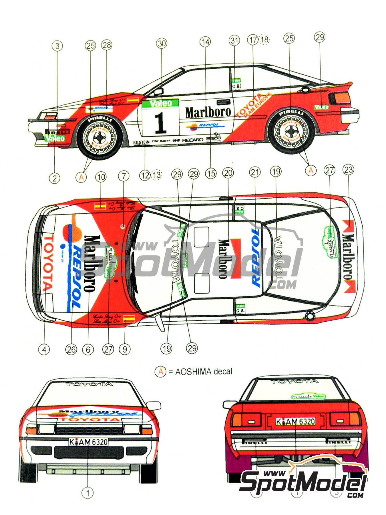 Toyota Celica GT-Four ST165 Marlboro - El Corte Ingles Rally , Valeo Rally 1989 | Marking / livery in 1/24 scale manufactured by Reji Model (ref.REJI-185) image
