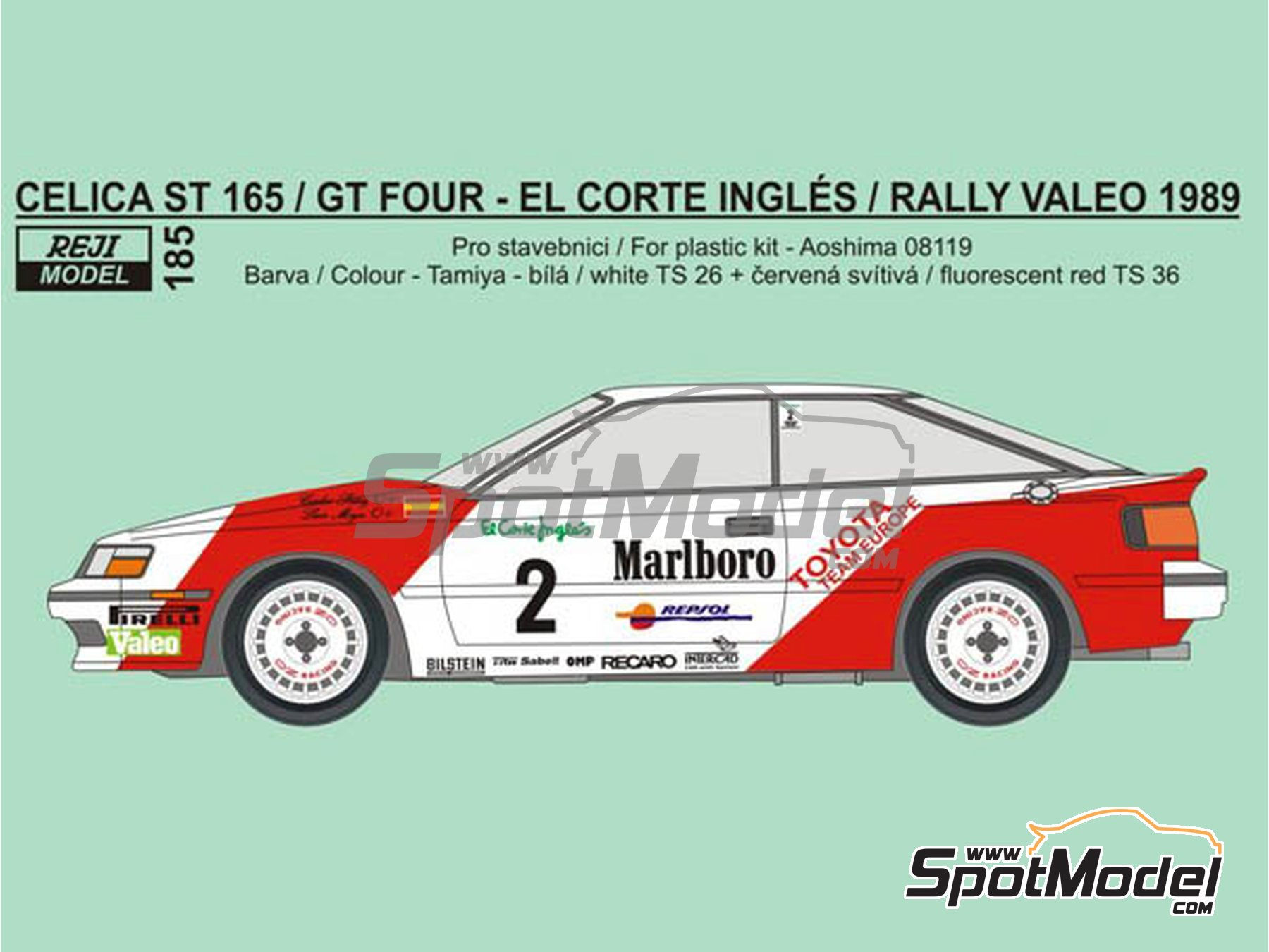 Image 1: Toyota Celica GT-Four ST165 Marlboro - El Corte Ingles Rally , Valeo Rally 1989 | Marking / livery in 1/24 scale manufactured by Reji Model (ref.REJI-185)