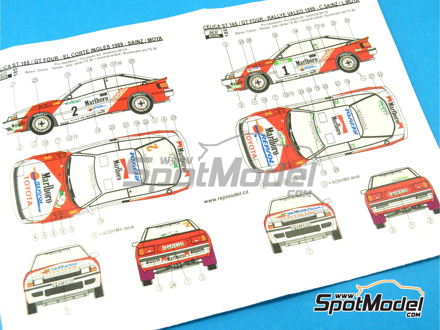 Image 2: Toyota Celica GT-Four ST165 Marlboro - El Corte Ingles Rally , Valeo Rally 1989 | Marking / livery in 1/24 scale manufactured by Reji Model (ref.REJI-185)