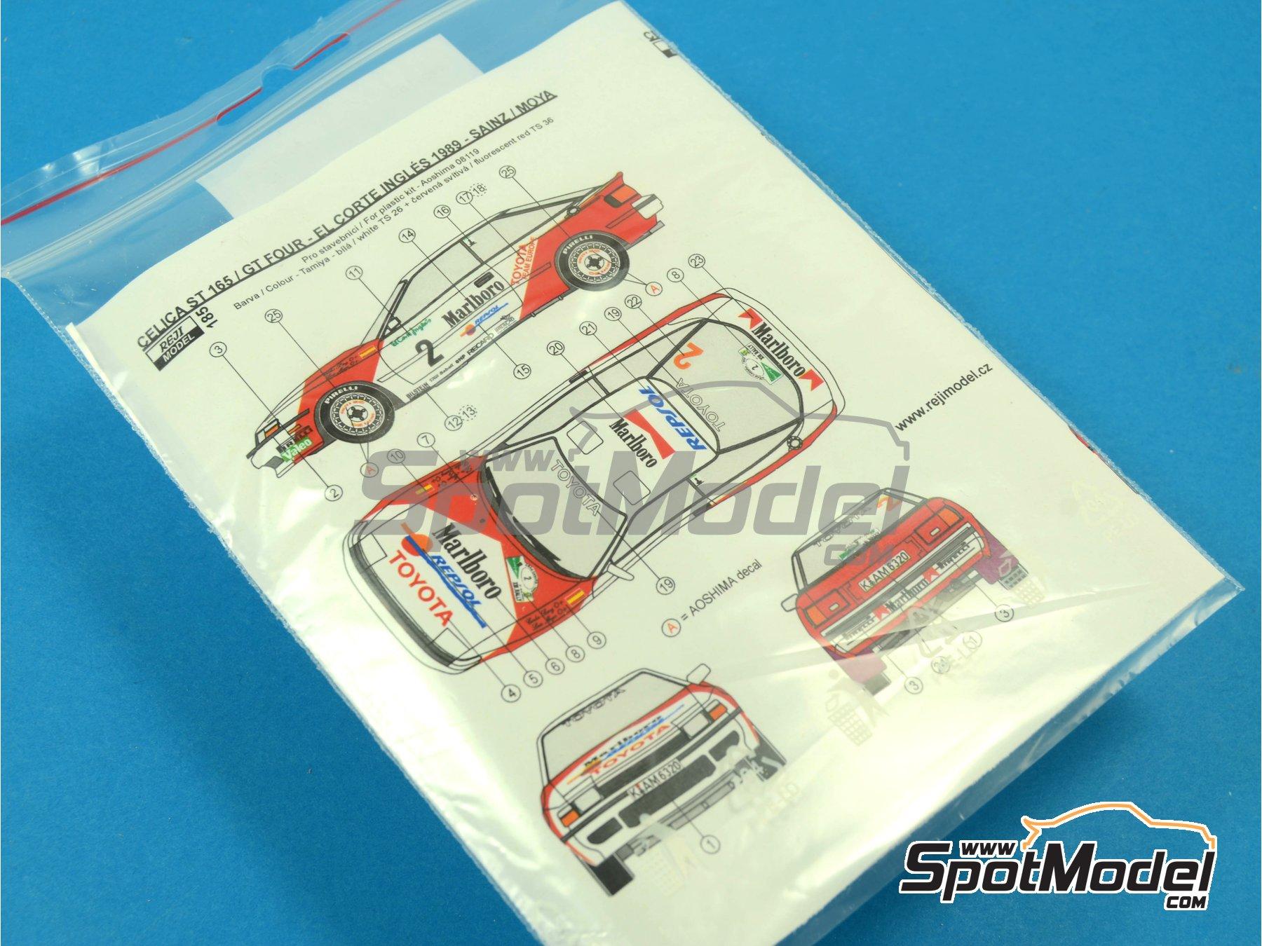 Image 3: Toyota Celica GT-Four ST165 Marlboro - El Corte Ingles Rally , Valeo Rally 1989 | Marking / livery in 1/24 scale manufactured by Reji Model (ref.REJI-185)