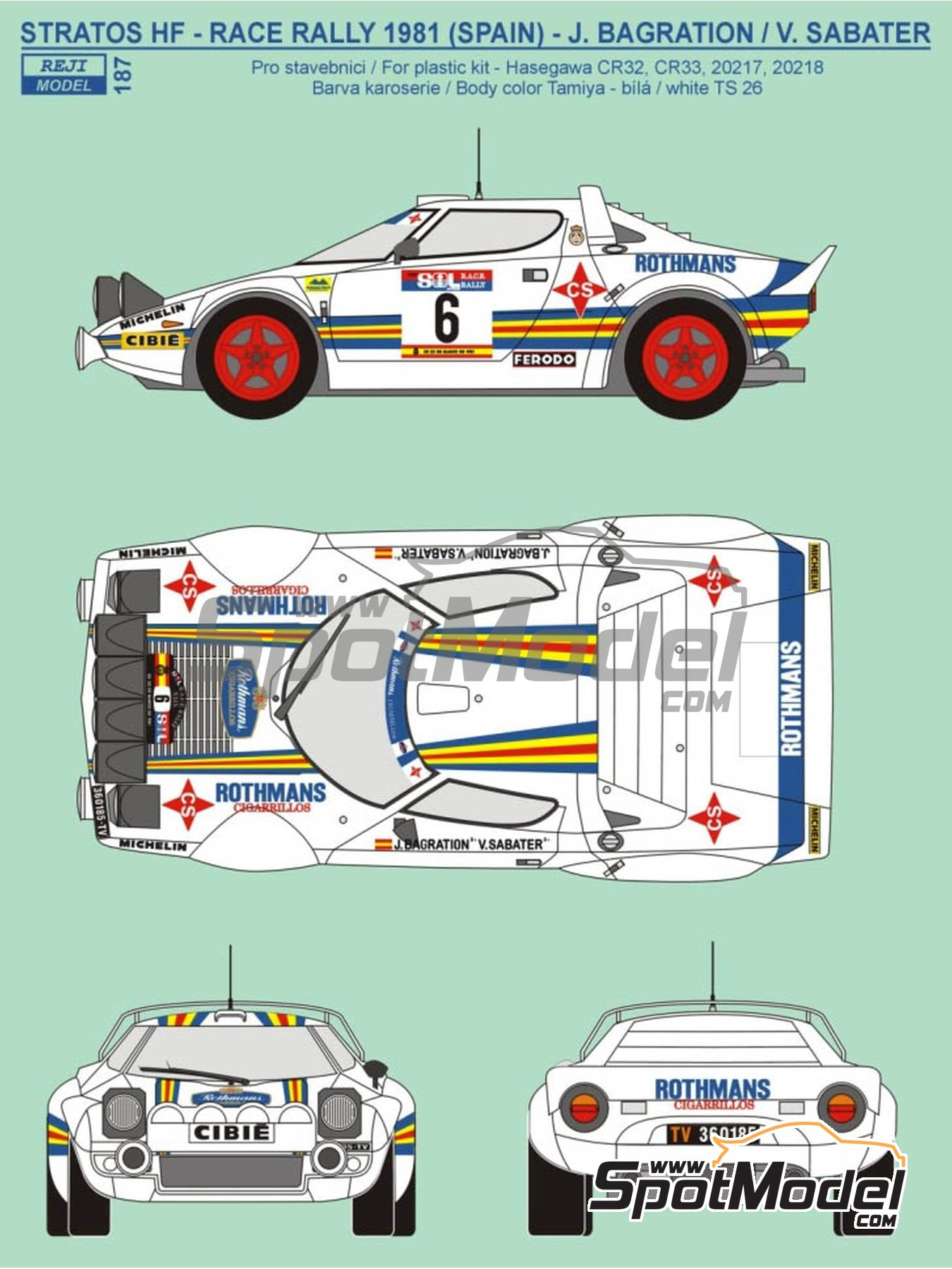 Lancia Stratos HF Rothmans - Rally del RACE 1981 | Decoración en escala1/24 fabricado por Reji Model (ref.REJI-187) image