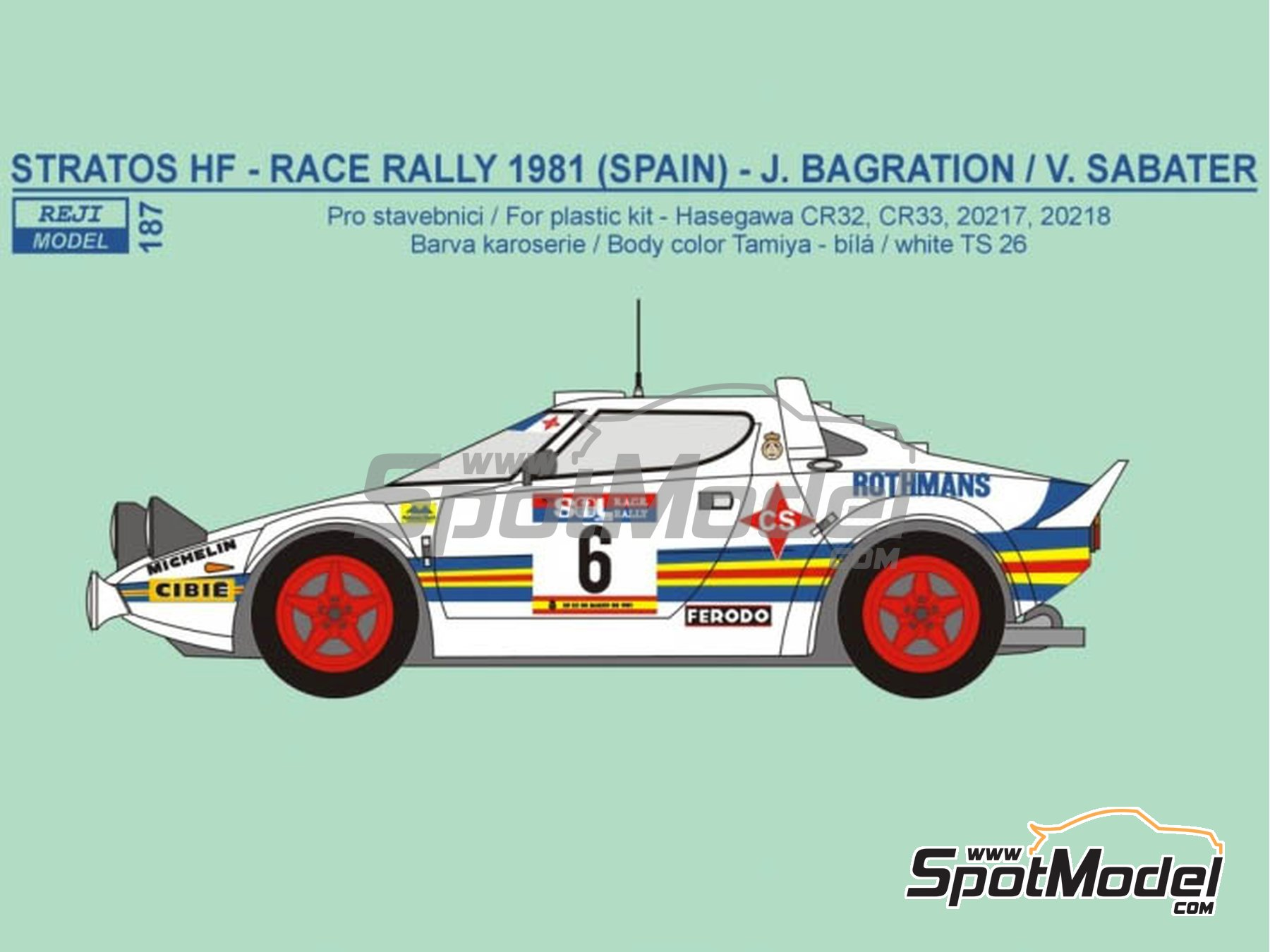 Image 1: Lancia Stratos HF Rothmans - Rally del RACE 1981 | Decoración en escala1/24 fabricado por Reji Model (ref.REJI-187)