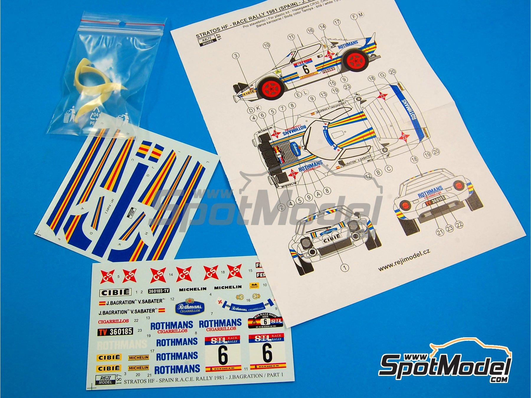 Image 5: Lancia Stratos HF Rothmans - Rally del RACE 1981 | Decoración en escala1/24 fabricado por Reji Model (ref.REJI-187)