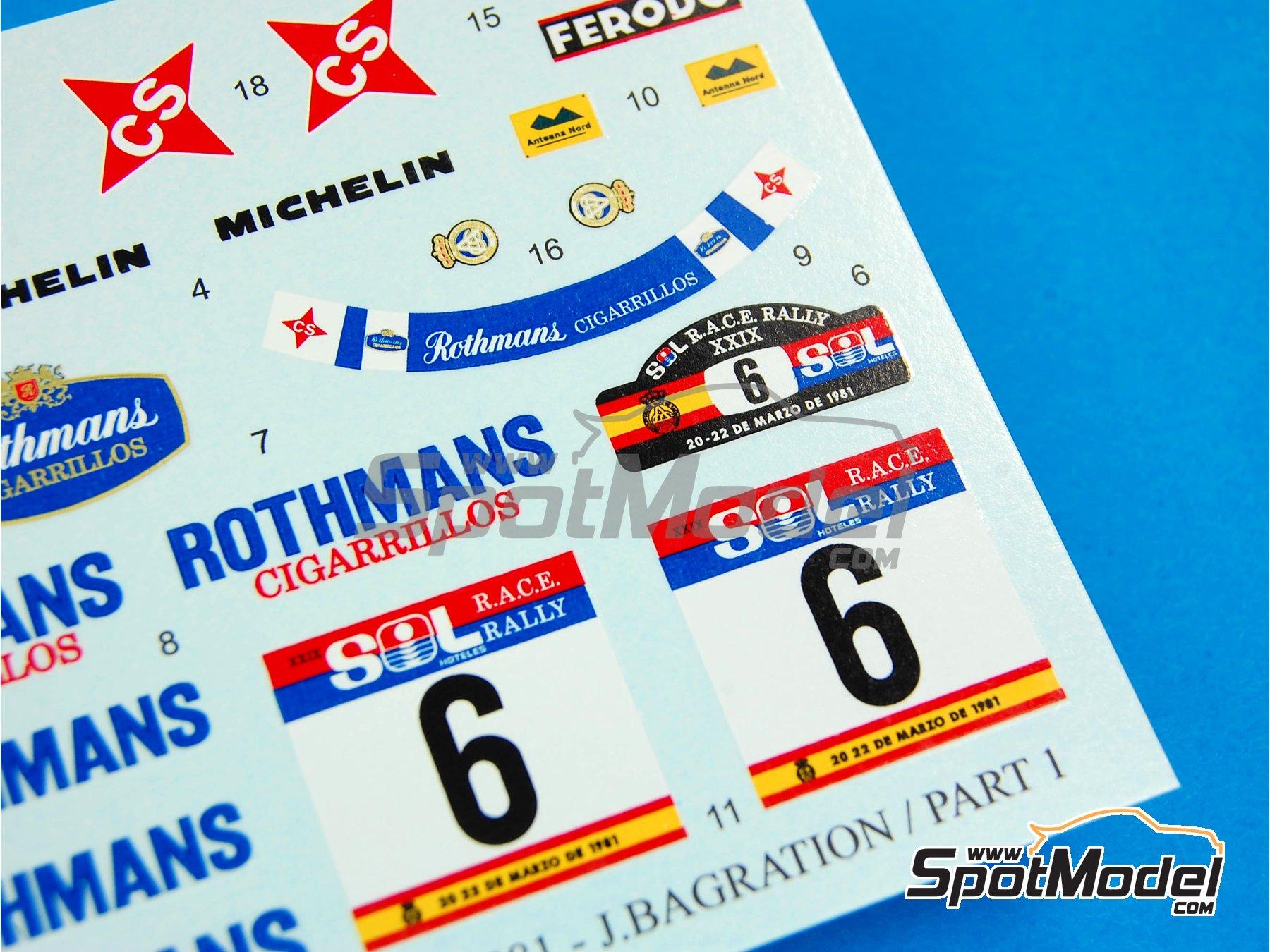 Image 7: Lancia Stratos HF Rothmans - Rally del RACE 1981 | Decoración en escala1/24 fabricado por Reji Model (ref.REJI-187)