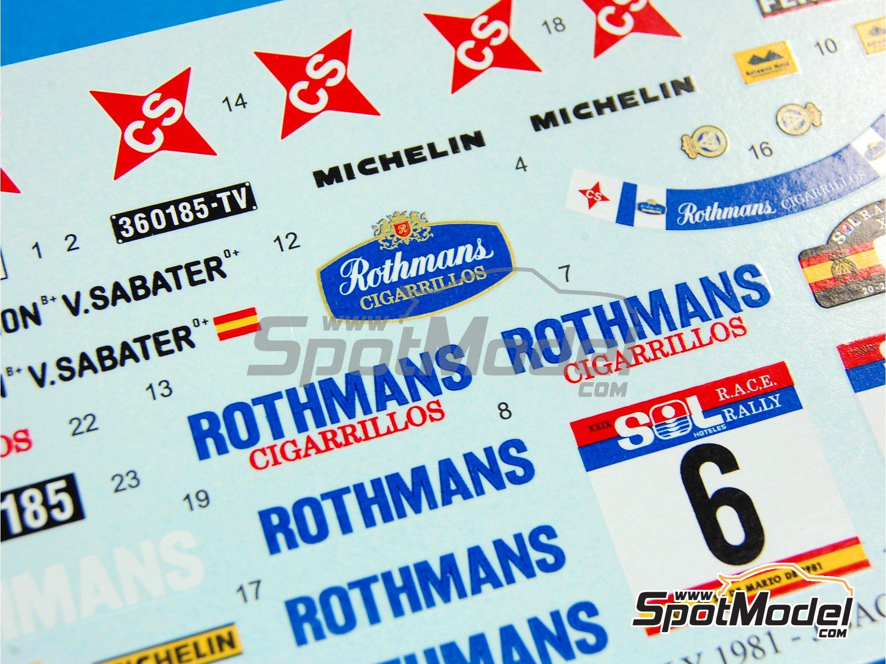 Image 8: Lancia Stratos HF Rothmans - Rally del RACE 1981 | Decoración en escala1/24 fabricado por Reji Model (ref.REJI-187)