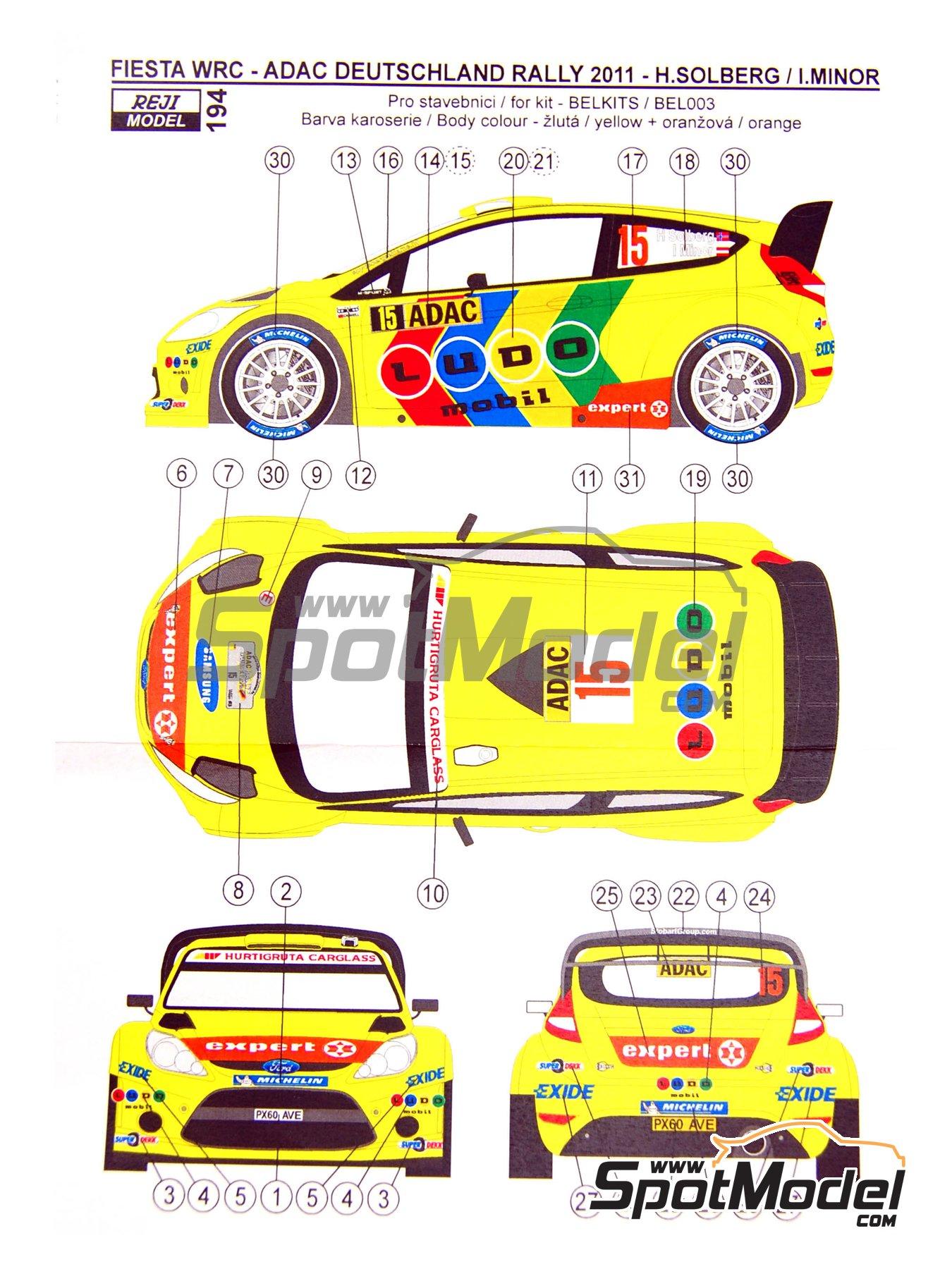 Ford Fiesta WRC LUDO Mobil - Rally de Alemania ADAC 2011   Decoración en escala1/24 fabricado por Reji Model (ref.REJI-194) image