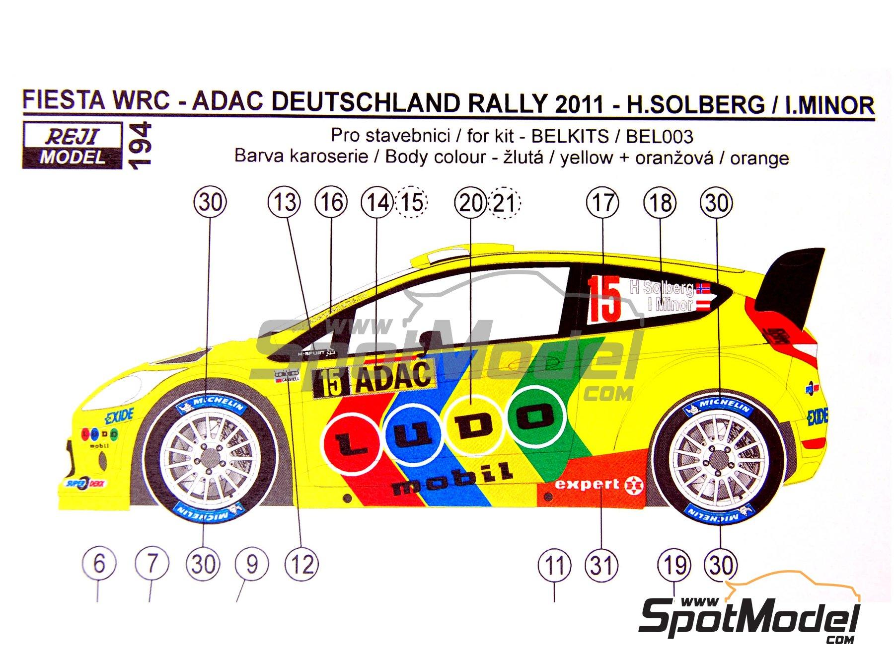 Image 6: Ford Fiesta WRC LUDO Mobil - Rally de Alemania ADAC 2011   Decoración en escala1/24 fabricado por Reji Model (ref.REJI-194)